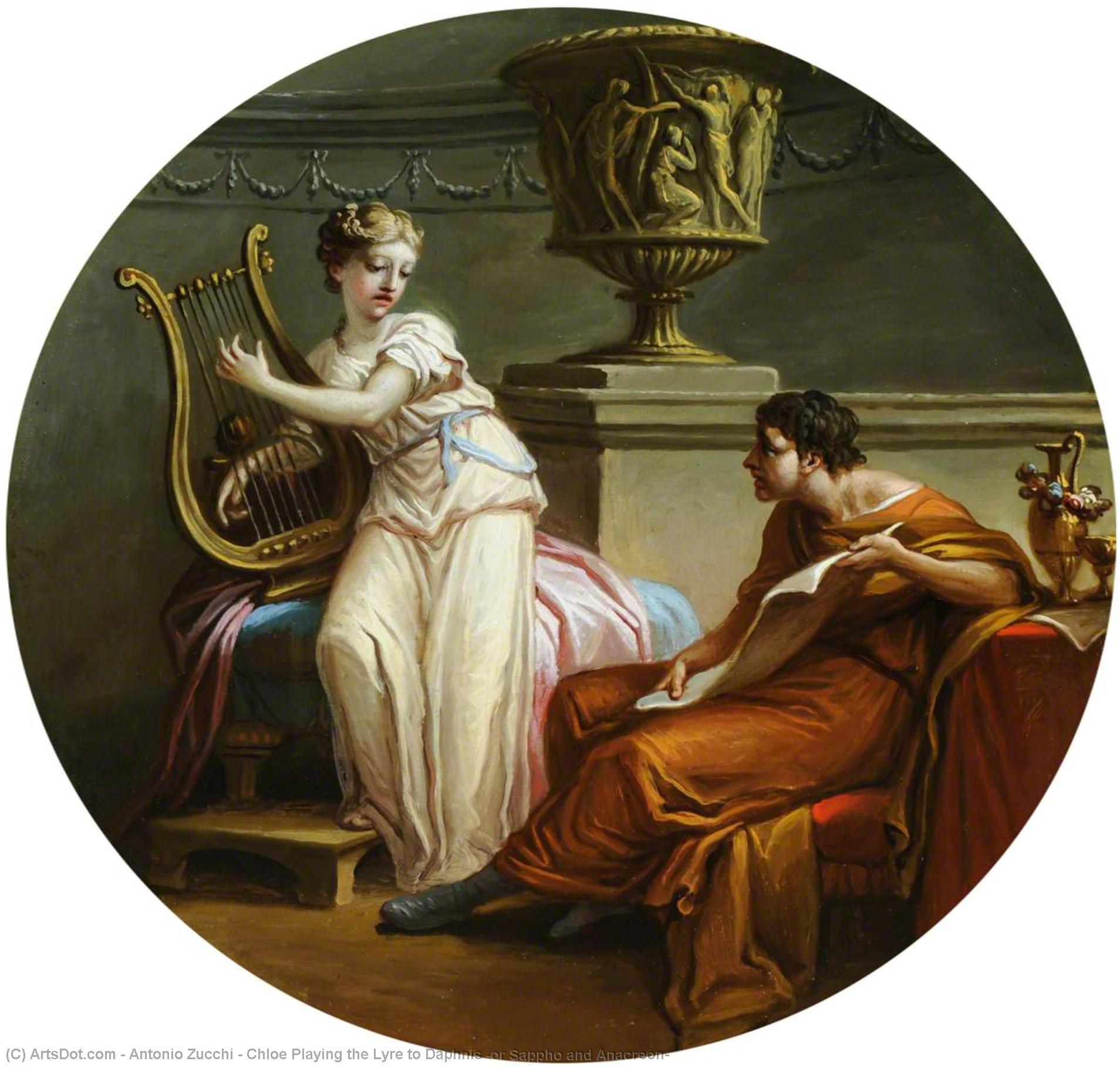 Chloe Playing the Lyre to Daphnis (or Sappho and Anacreon), 1776 by Antonio Zucchi (1726-1795, Italy) | Painting Copy | ArtsDot.com