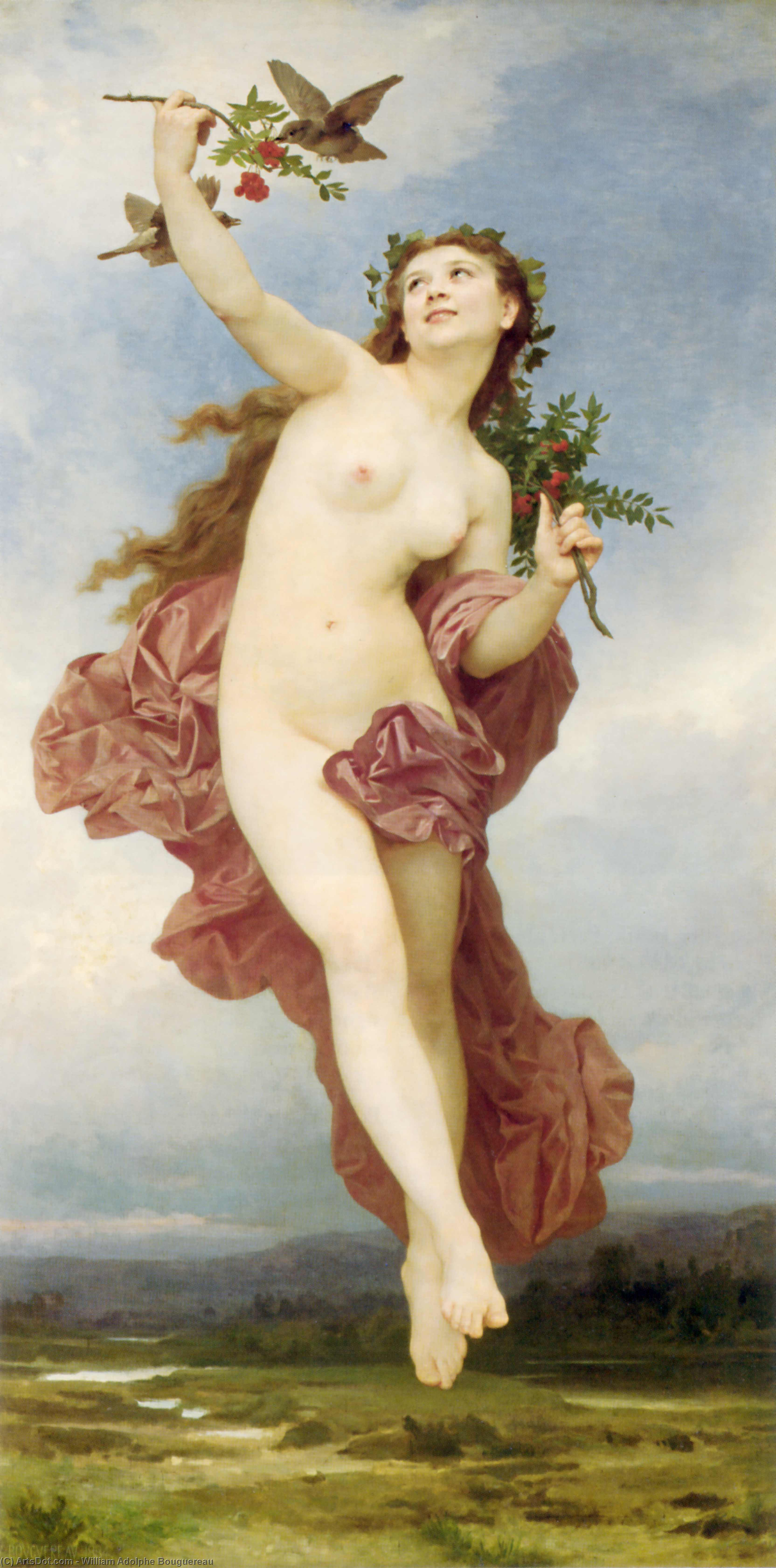 Buy Museum Art Reproductions | Day by William Adolphe Bouguereau (1825-1905, France) | ArtsDot.com