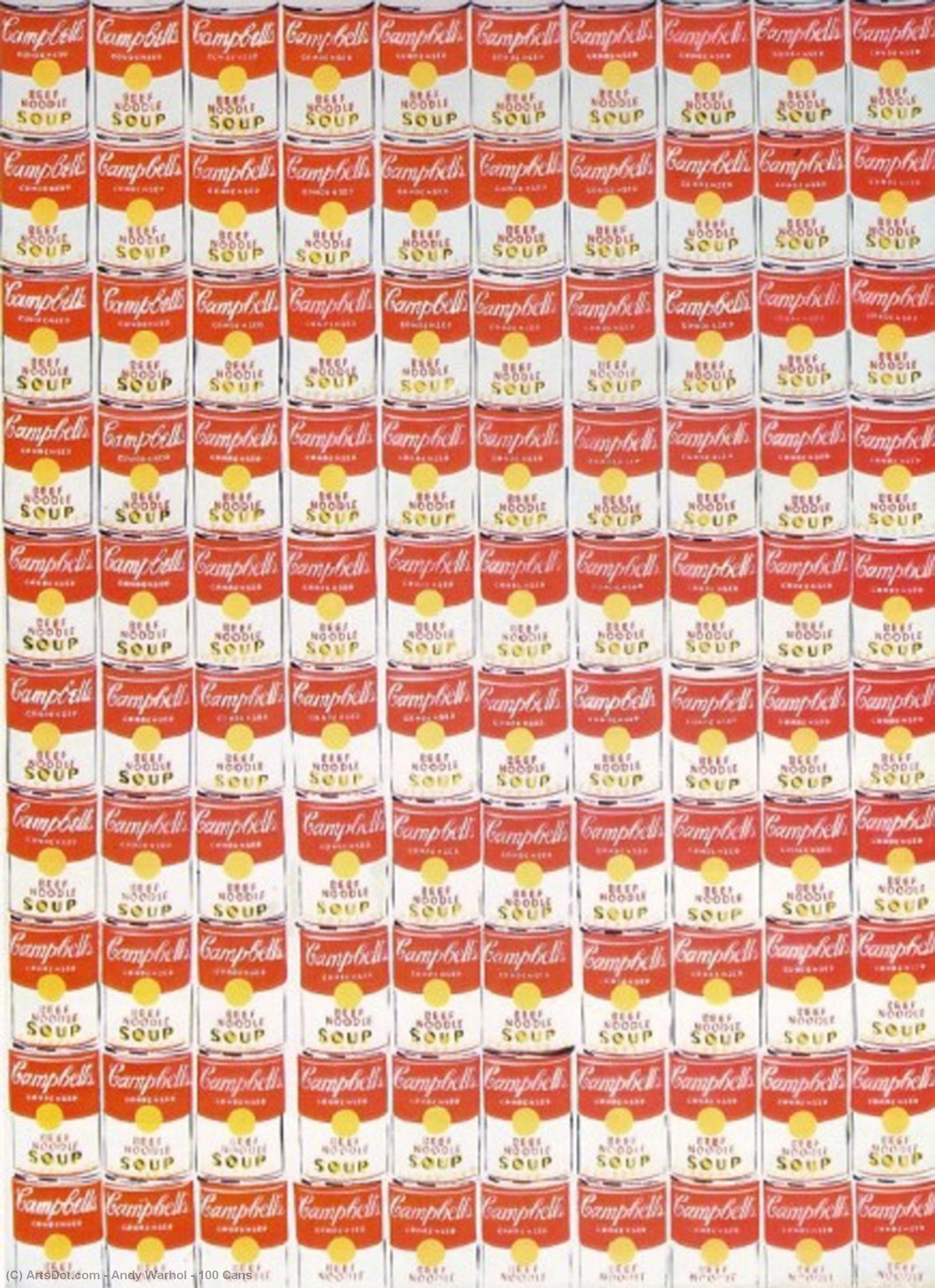 Order Museum Quality Reproductions : 100 Cans by Andy Warhol (1928-1987, United States) | ArtsDot.com