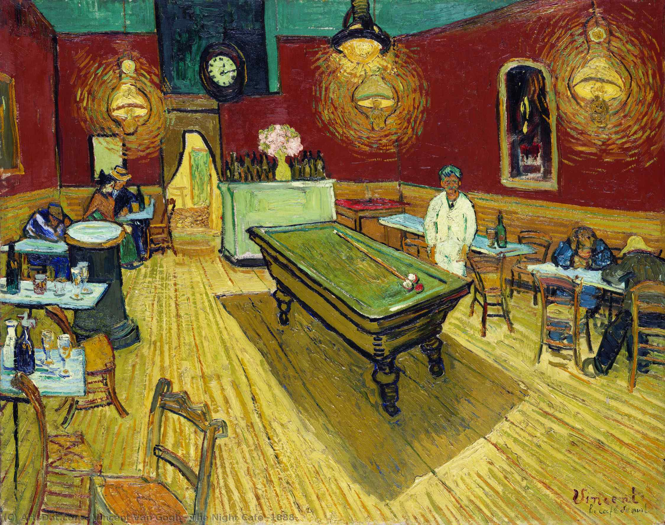 Order Art Reproductions | The Night Cafe, 1888 by Vincent Van Gogh (1853-1890, Netherlands) | ArtsDot.com