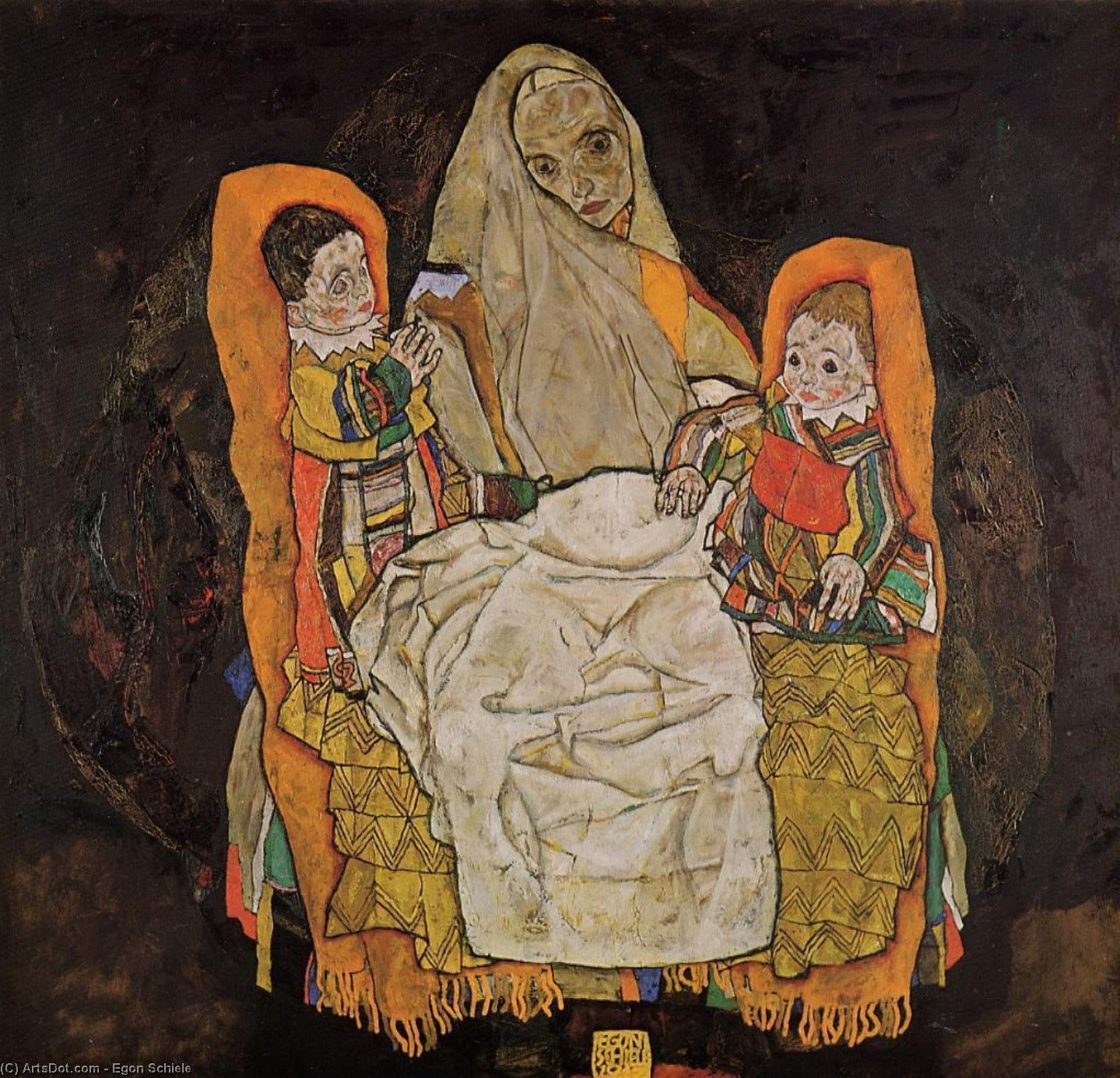 Mother with Two Children, 1917 by Egon Schiele (1890-1918, Croatia) | Museum Art Reproductions | ArtsDot.com