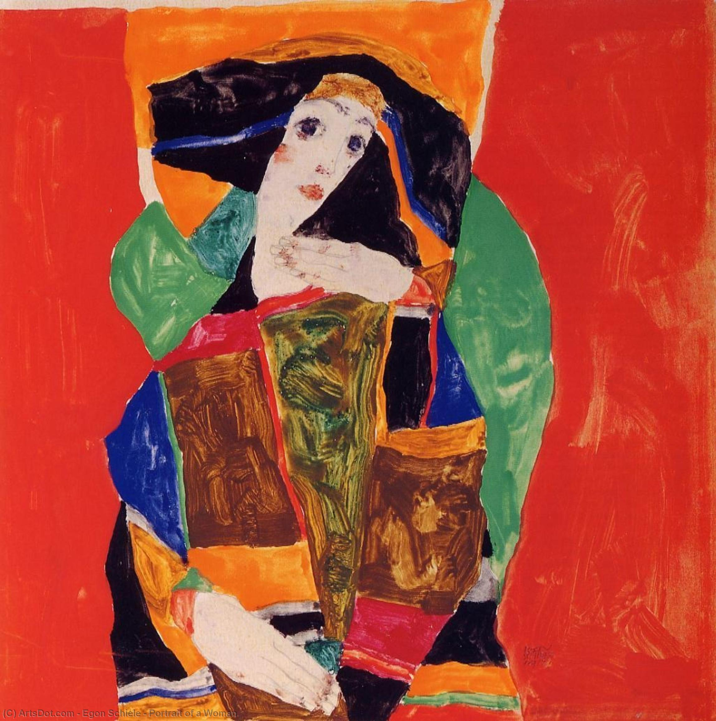 Buy Museum Art Reproductions : Portrait of a Woman, 1912 by Egon Schiele (1890-1918, Croatia) | ArtsDot.com