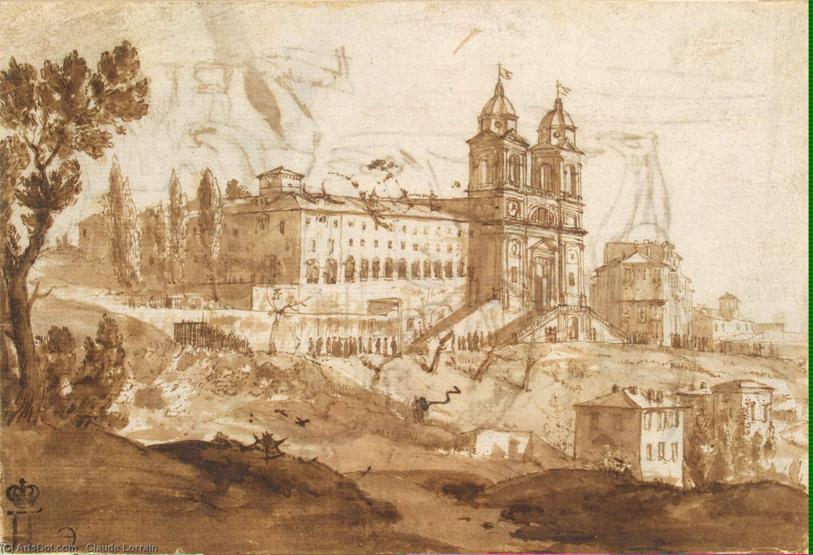 View of the Church of S. Trinita dei Monti, Rome, Oil by Claude Lorrain (Claude Gellée)