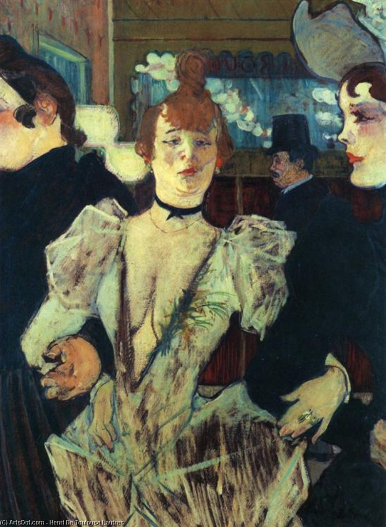 La Goulue Entering the Moulin Rouge, Oil by Henri De Toulouse Lautrec (1864-1901, France)