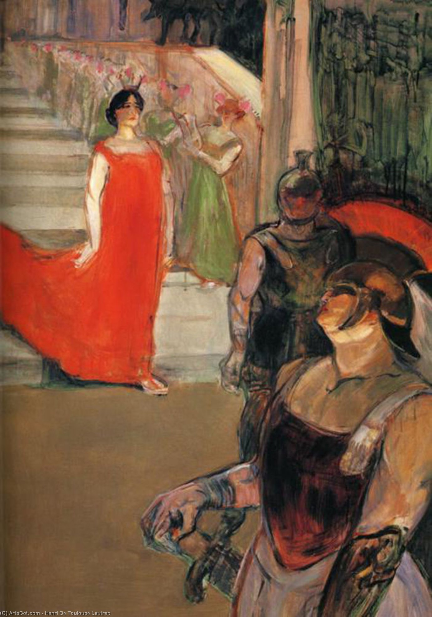 The Opera Messalina at Bordeaux, Oil by Henri De Toulouse Lautrec (1864-1901, France)