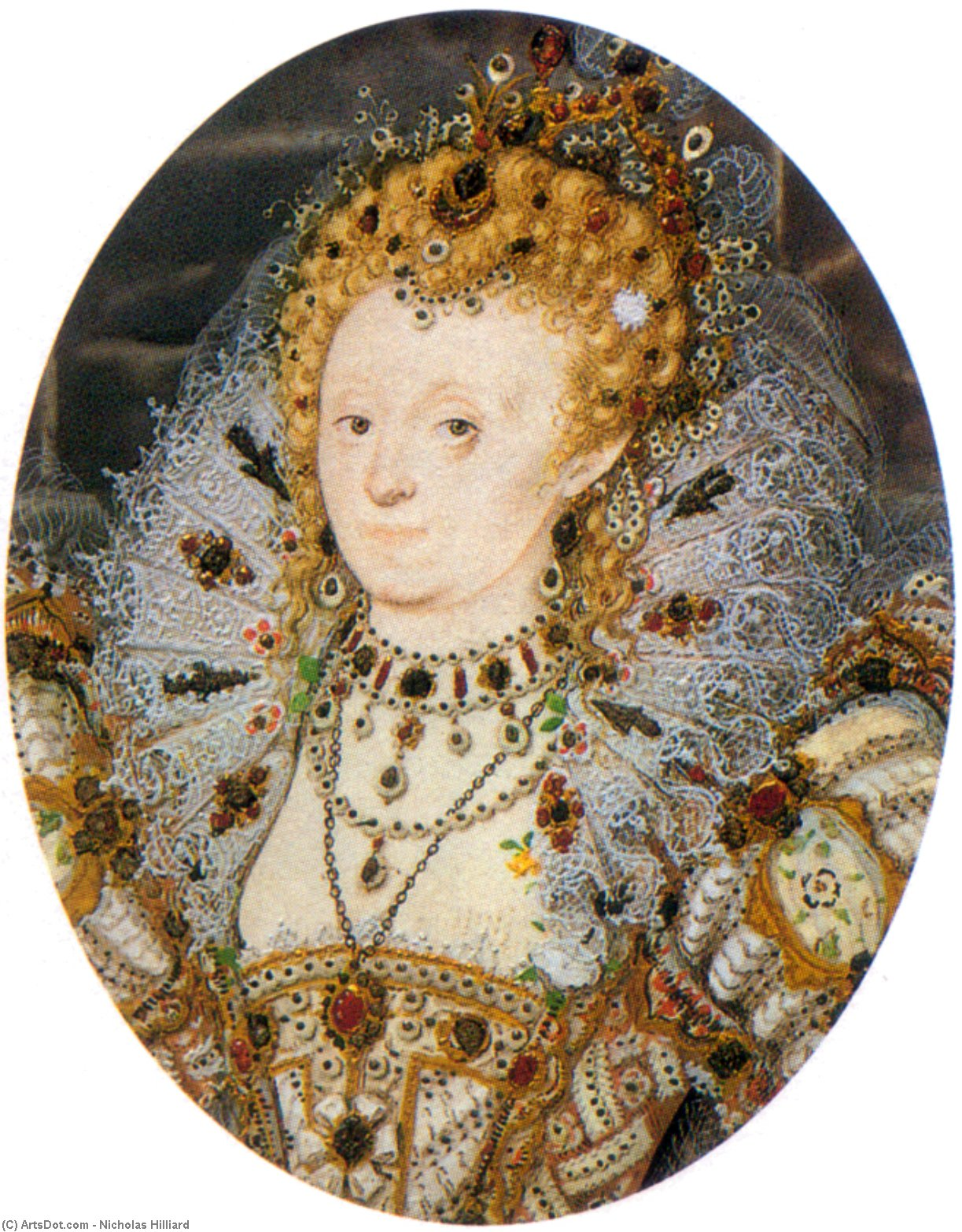 Elizabeth Iv3 by Nicholas Hilliard (1577-1619, United Kingdom) | Museum Art Reproductions | ArtsDot.com