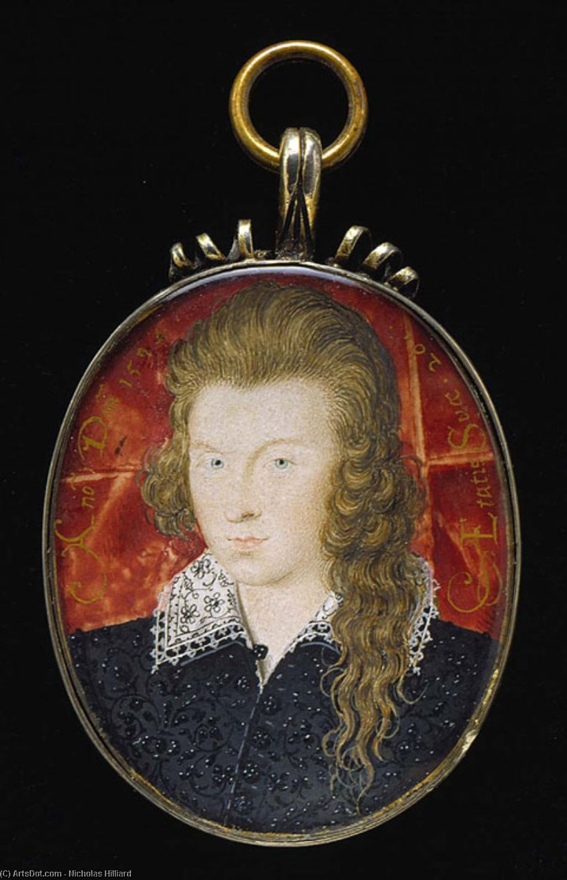 Henry Wriothesley, 3rd Earl of Southampton, Oil by Nicholas Hilliard (1577-1619, United Kingdom)