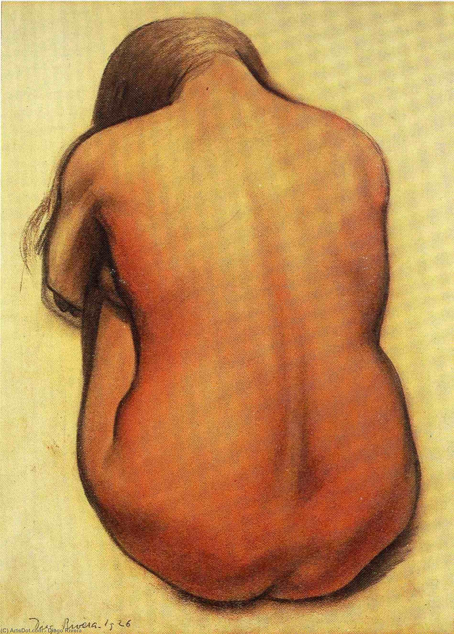 Back of a Seated Nude, Oil by Diego Rivera (1886-1957, Mexico)