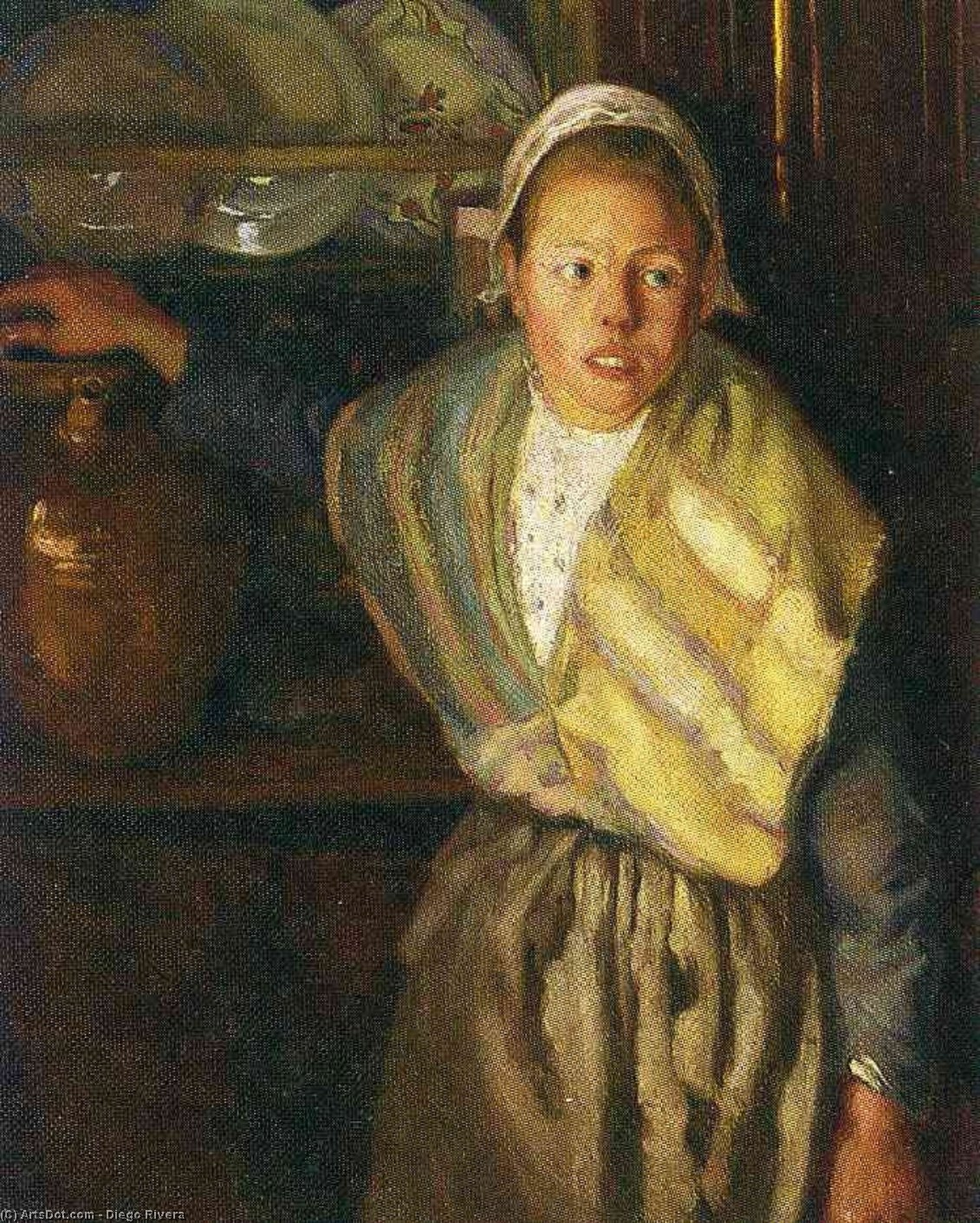 Breton Girl, Oil On Canvas by Diego Rivera (1886-1957, Mexico)