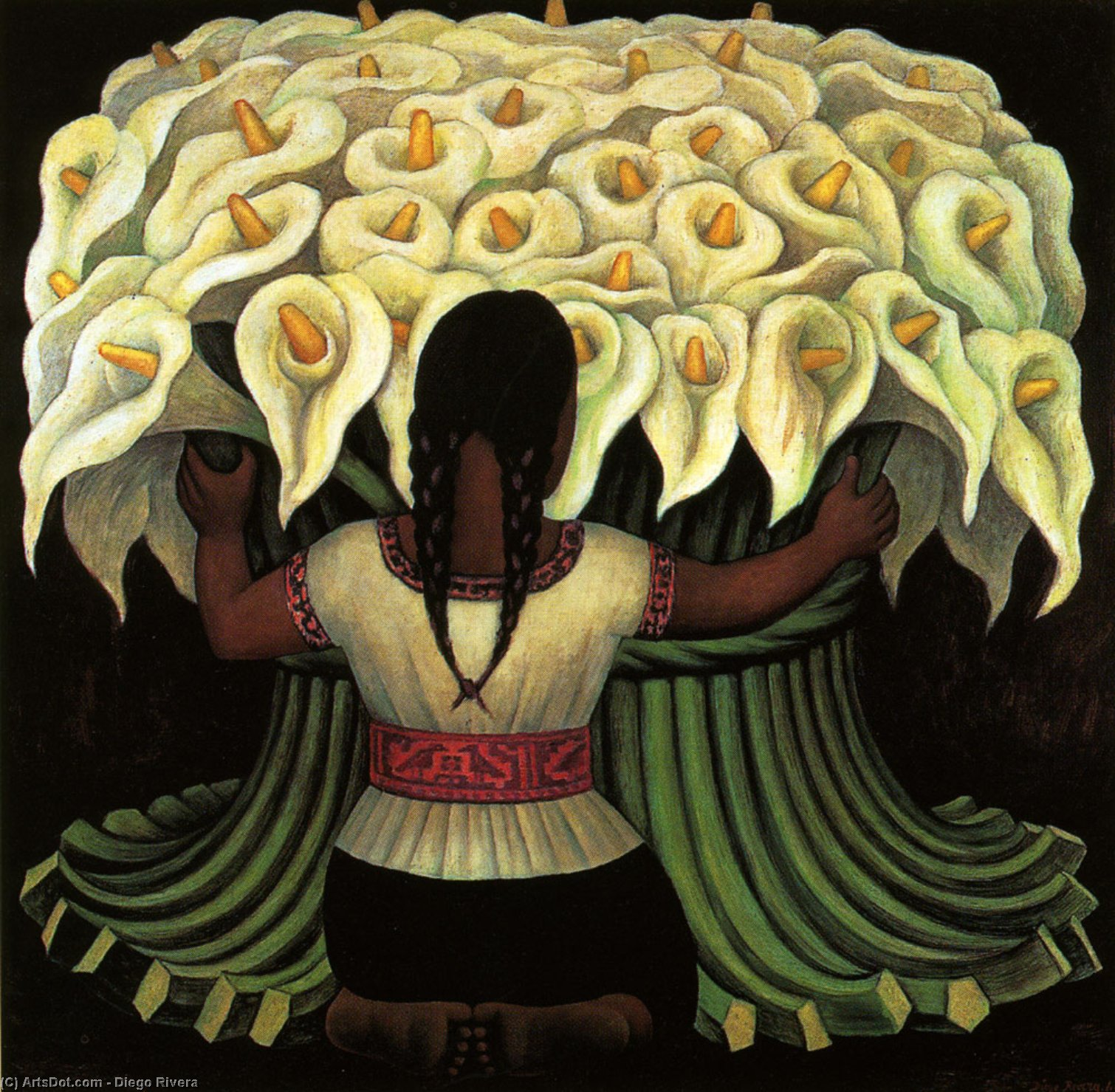 Flower Seller, Oil by Diego Rivera (1886-1957, Mexico)