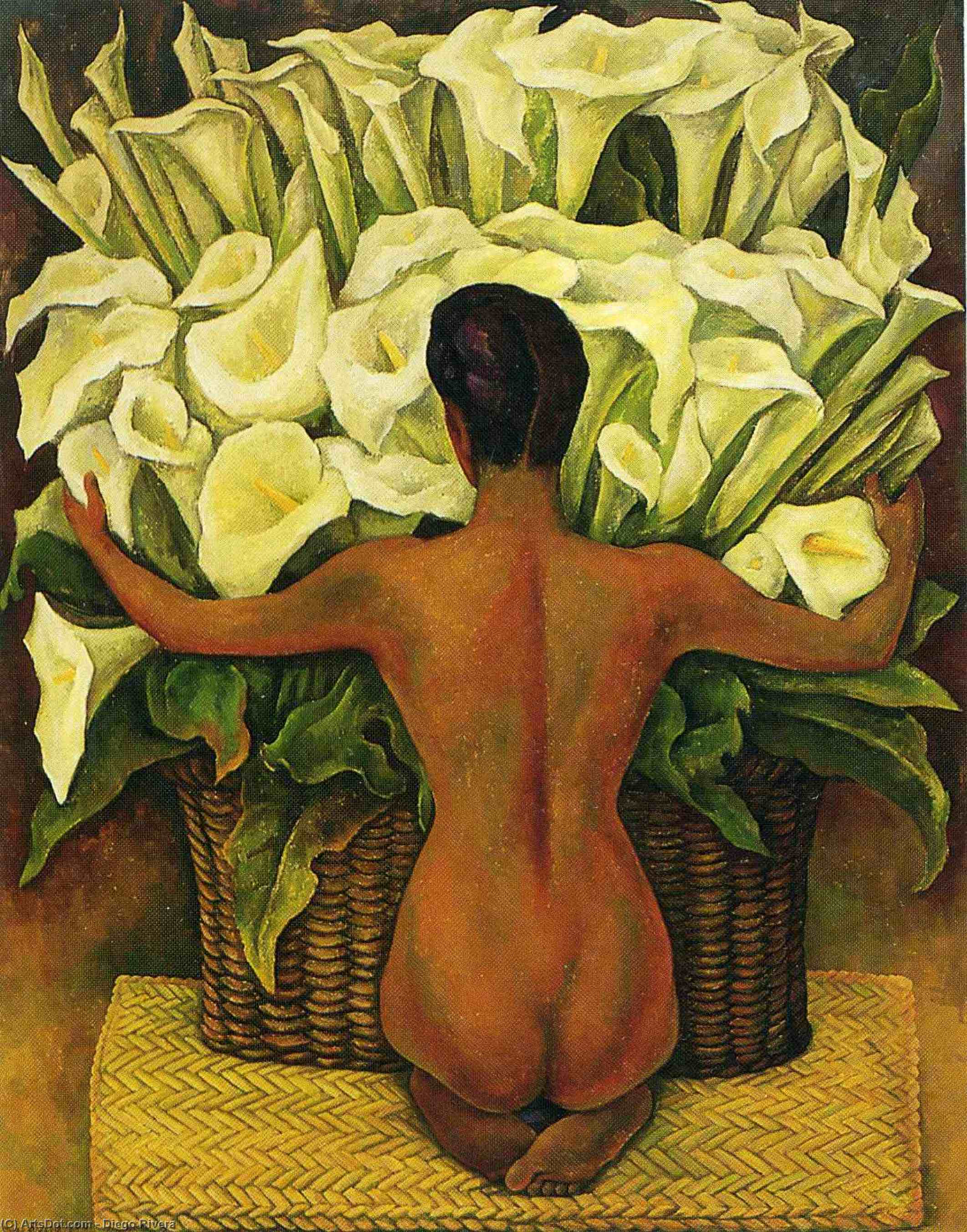 Nude with Calla Lilies, Oil On Panel by Diego Rivera (1886-1957, Mexico)