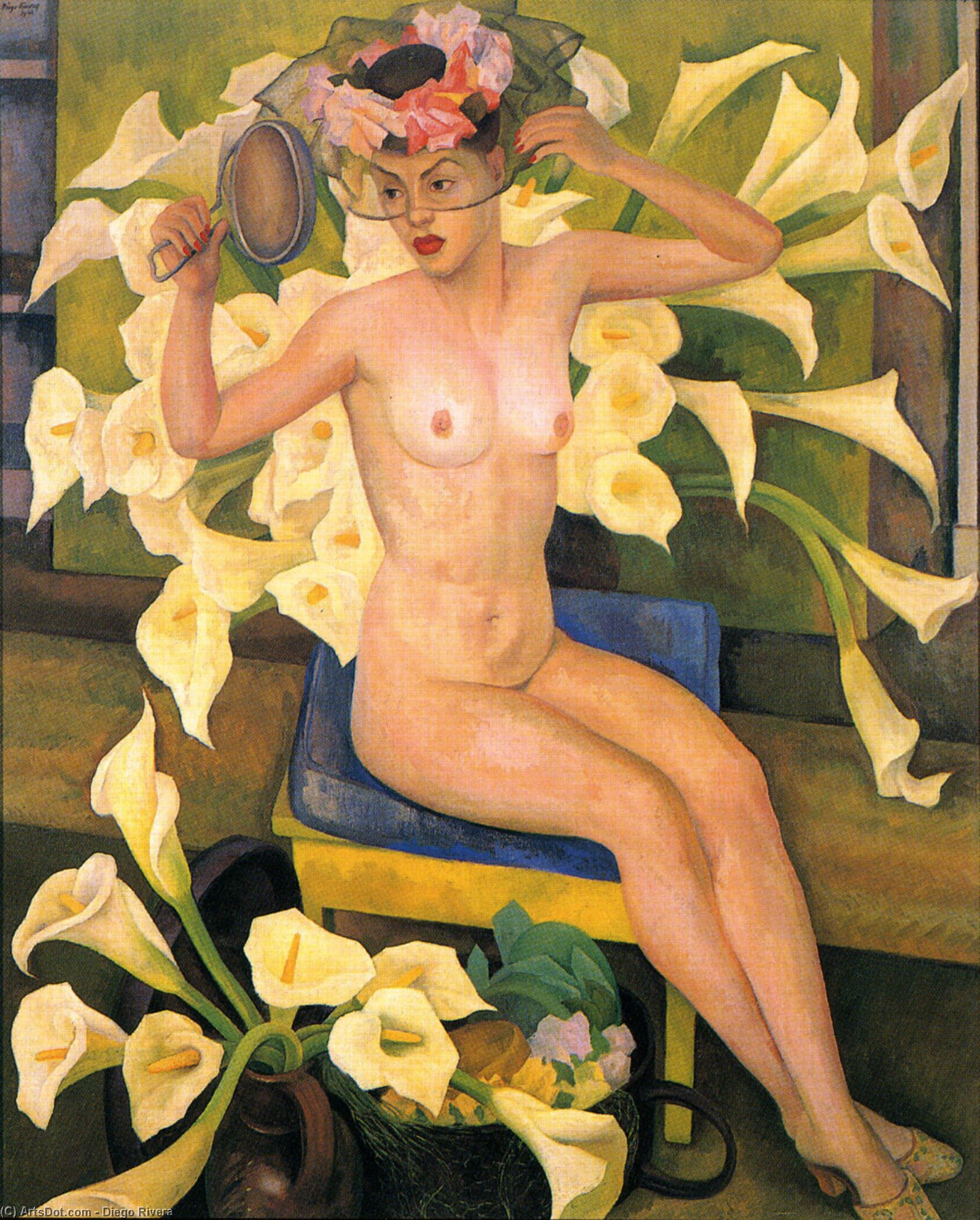 Nude with Flowers (Veiled Woman), Oil by Diego Rivera (1886-1957, Mexico)