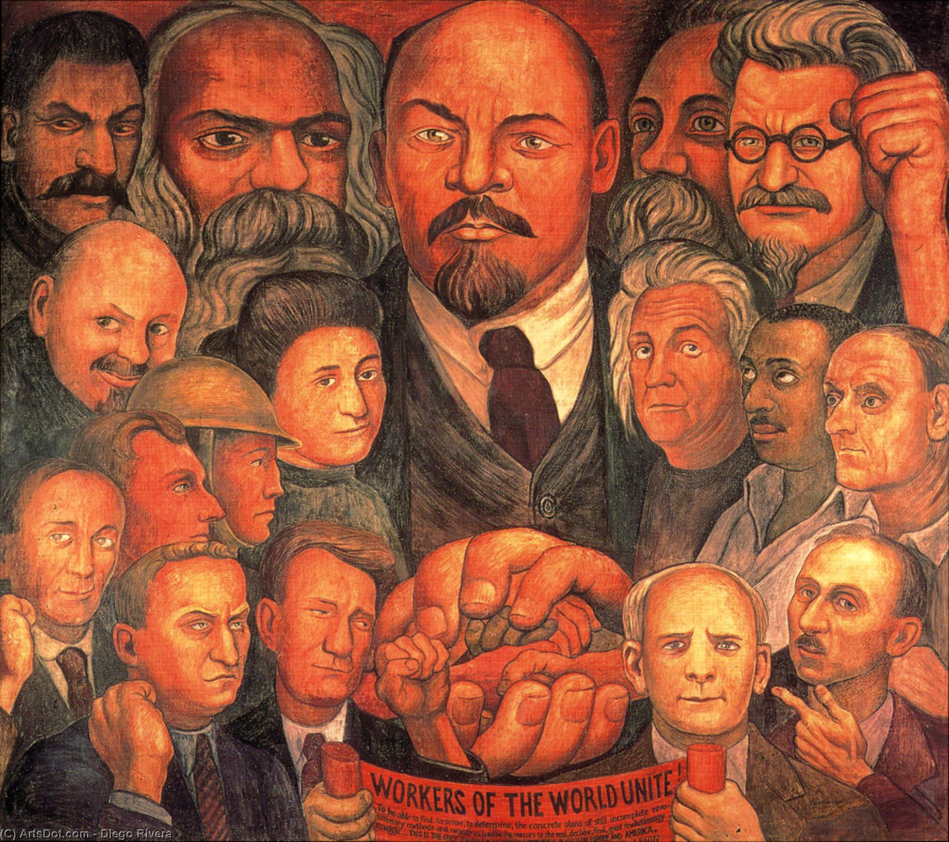 Proletarian Unity, Oil by Diego Rivera (1886-1957, Mexico)