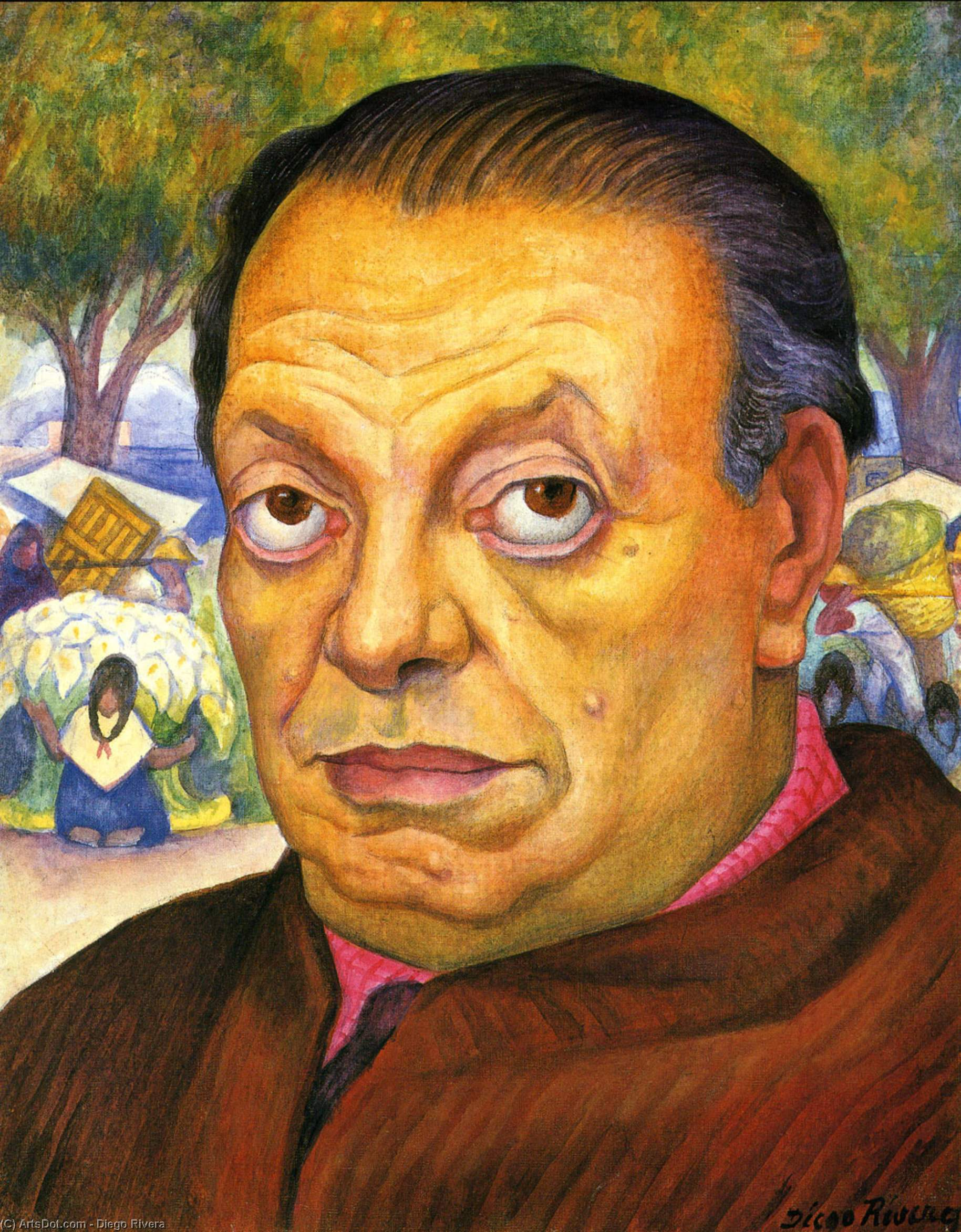 Self-Portrait 2, Oil by Diego Rivera (1886-1957, Mexico)