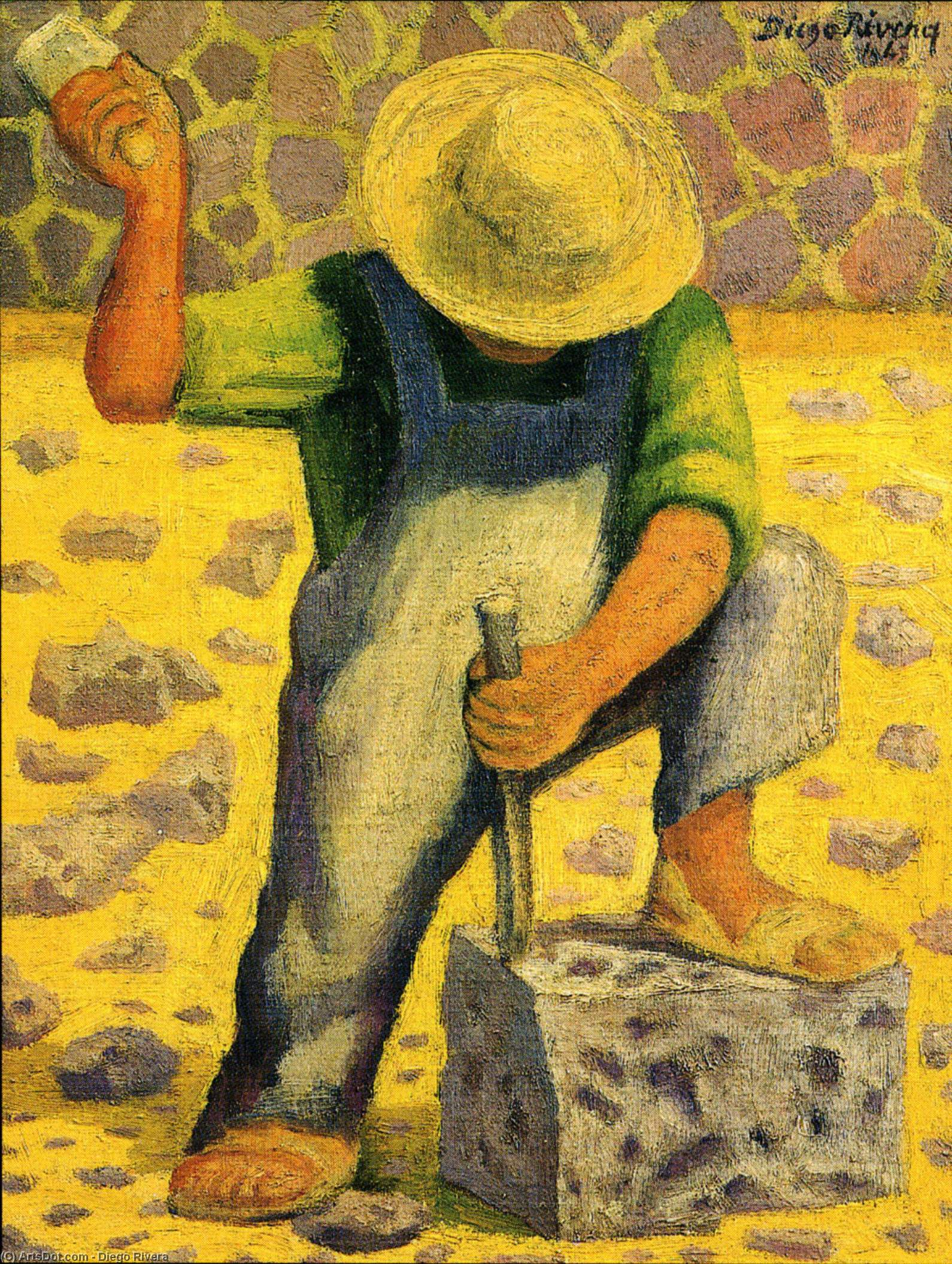 Stone Worker (Picapedero) by Diego Rivera (1886-1957, Mexico) | Museum Quality Reproductions | ArtsDot.com