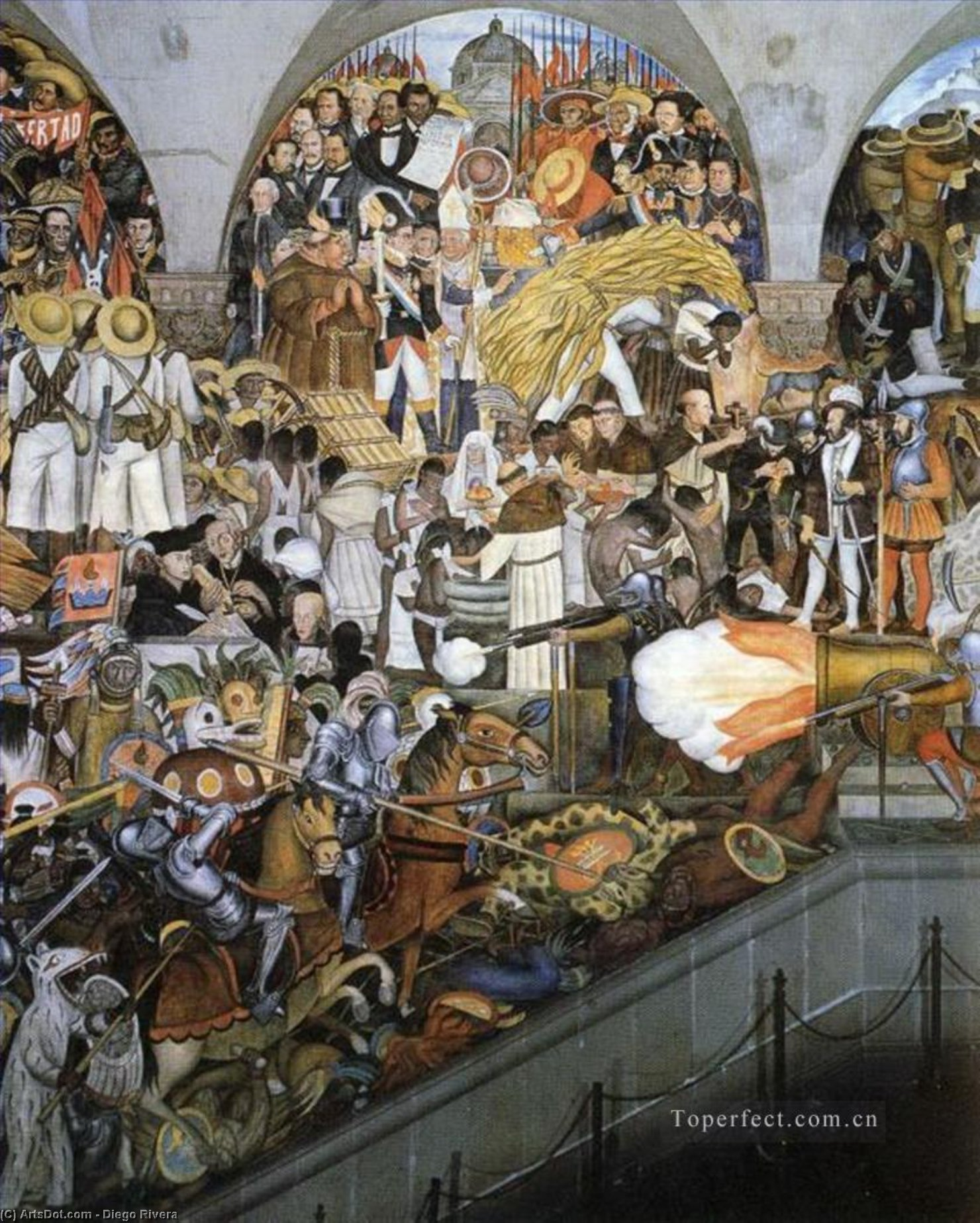 The History of Mexico, Frescoes by Diego Rivera (1886-1957, Mexico)