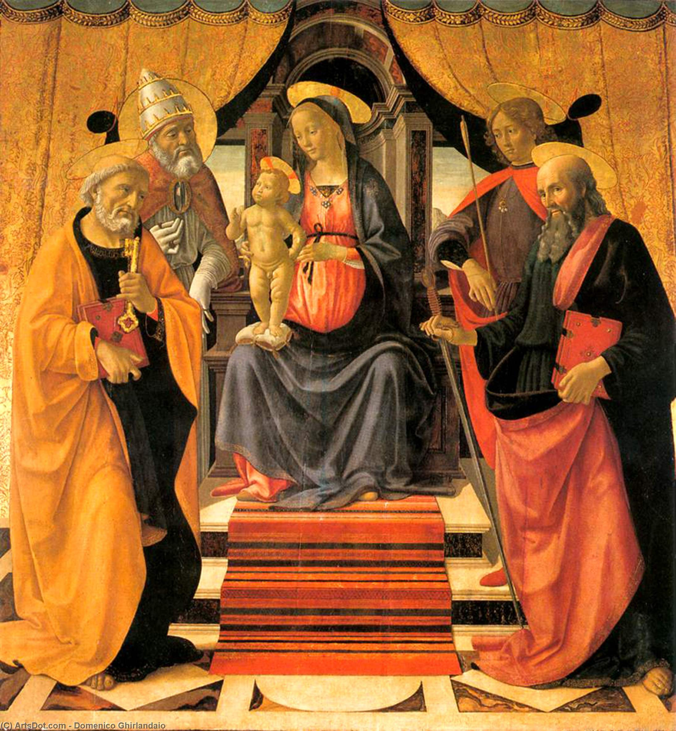 Madonna and Child Enthroned with Saints 1, Oil by Domenico Ghirlandaio (1449-1494, Italy)