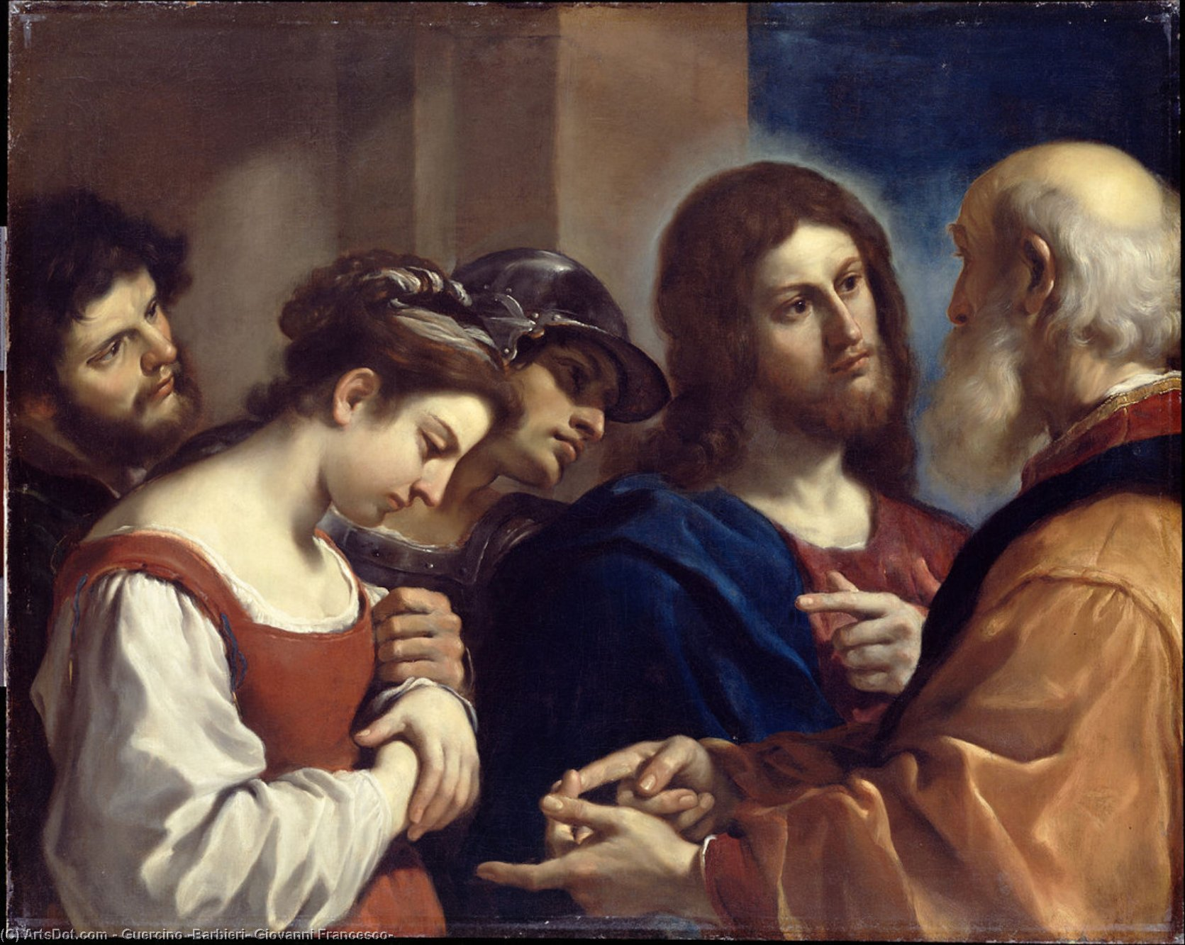 Christ and the Woman taken in adultery, Oil by Guercino (Barbieri, Giovanni Francesco) (1591-1666, Italy)