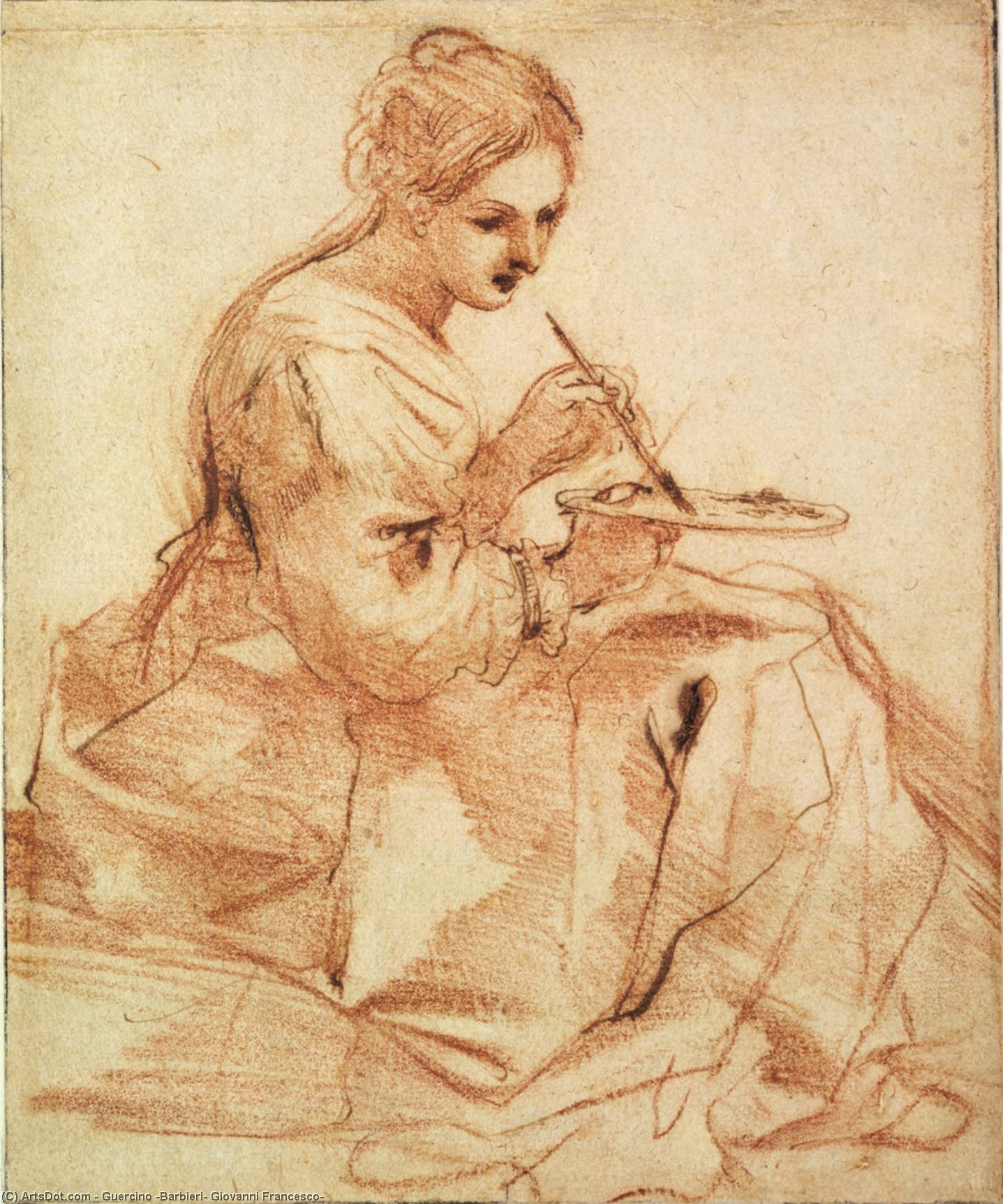 Painting Lady, Drawing by Guercino (Barbieri, Giovanni Francesco) (1591-1666, Italy)