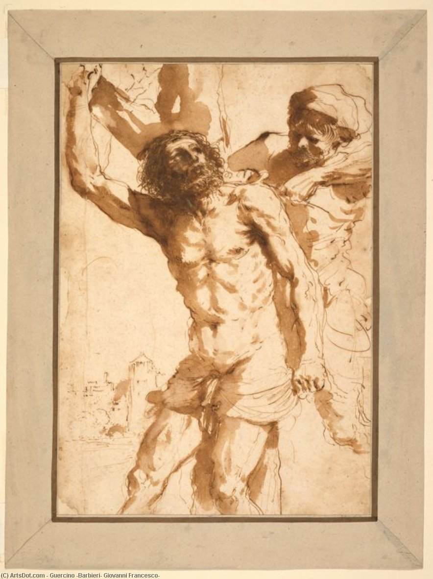 Study for The Martyrdom of Saint Bartholomew, Drawing by Guercino (Barbieri, Giovanni Francesco) (1591-1666, Italy)