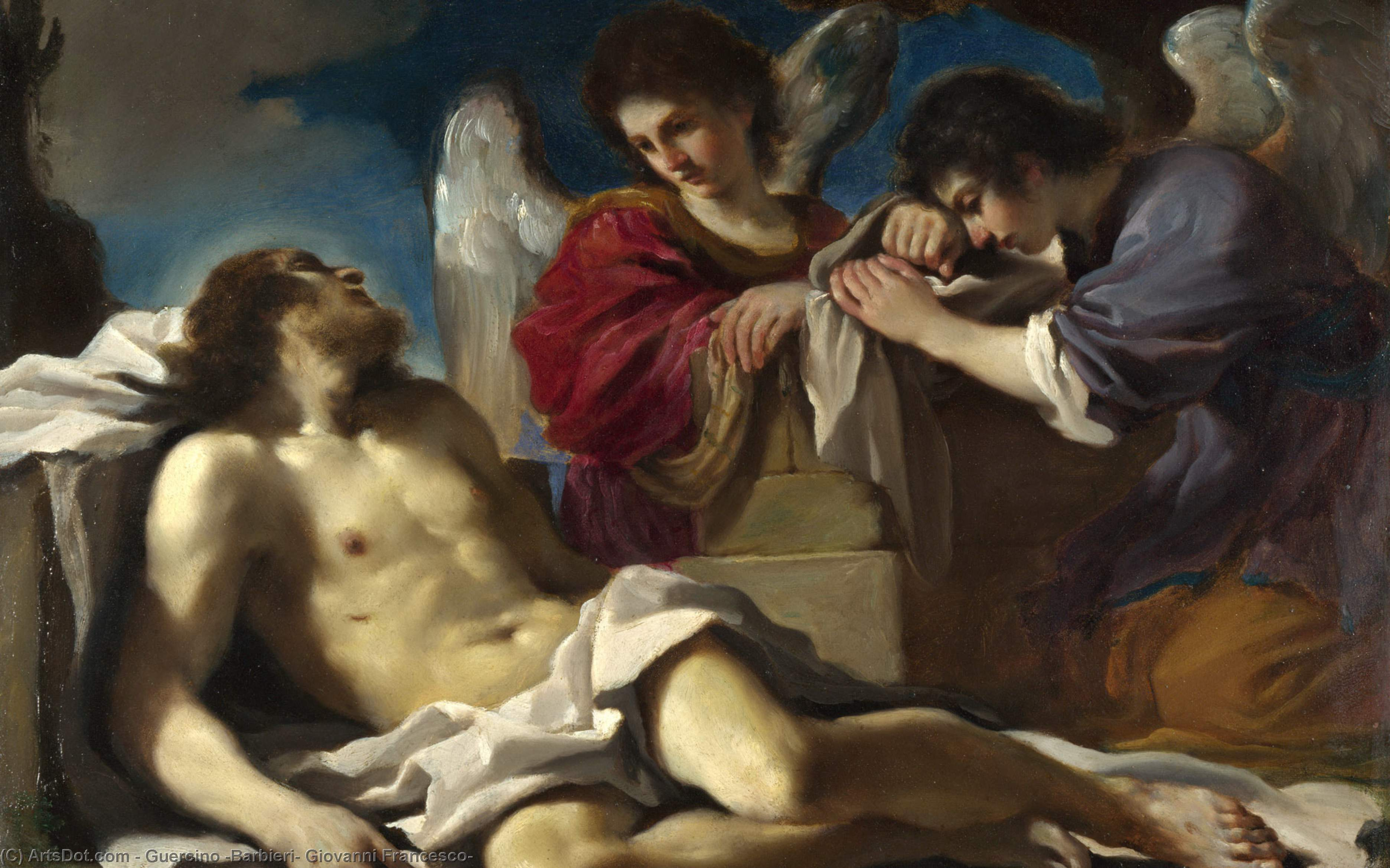 The Dead Christ mourned by Two Angels, Oil by Guercino (Barbieri, Giovanni Francesco) (1591-1666, Italy)