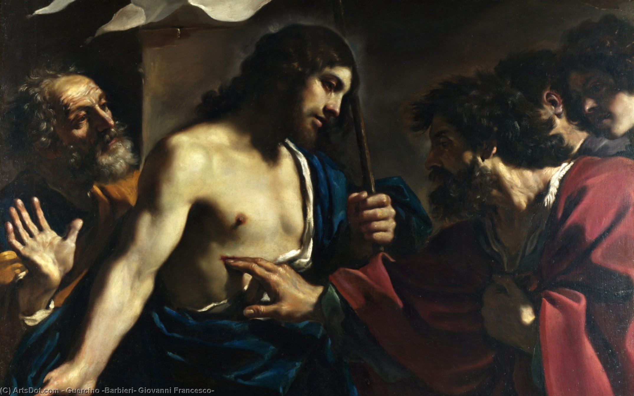 The Incredulity of Saint Thomas, Oil by Guercino (Barbieri, Giovanni Francesco) (1591-1666, Italy)
