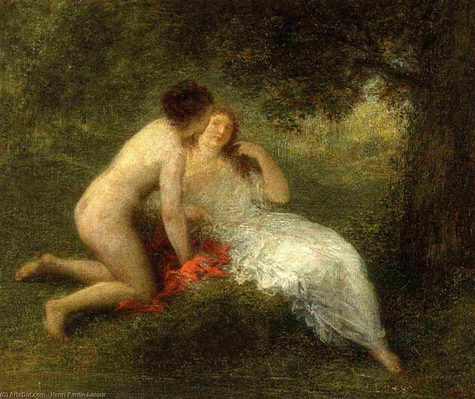 Bathers, Oil by Henri Fantin Latour (1836-1904, France)