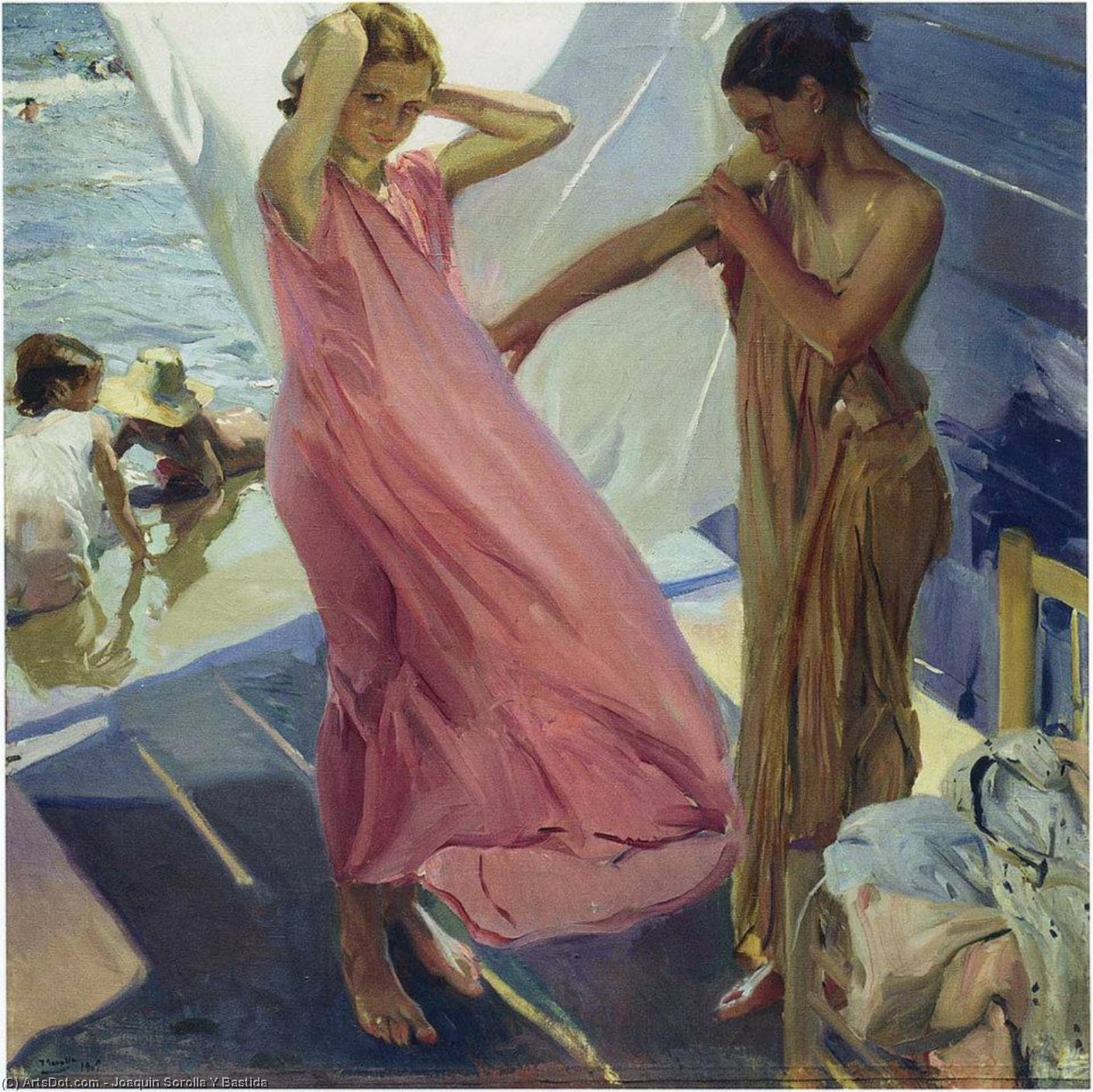 After the Bath, Valencia, Oil by Joaquin Sorolla Y Bastida (1863-1923, Spain)