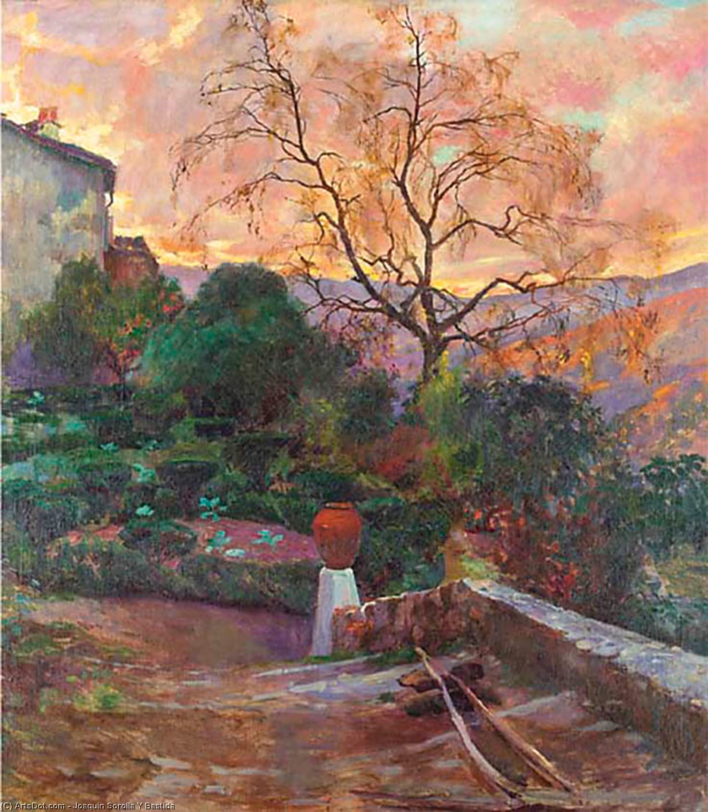 Garden of Spanish Farmhouse, Oil On Canvas by Joaquin Sorolla Y Bastida (1863-1923, Spain)