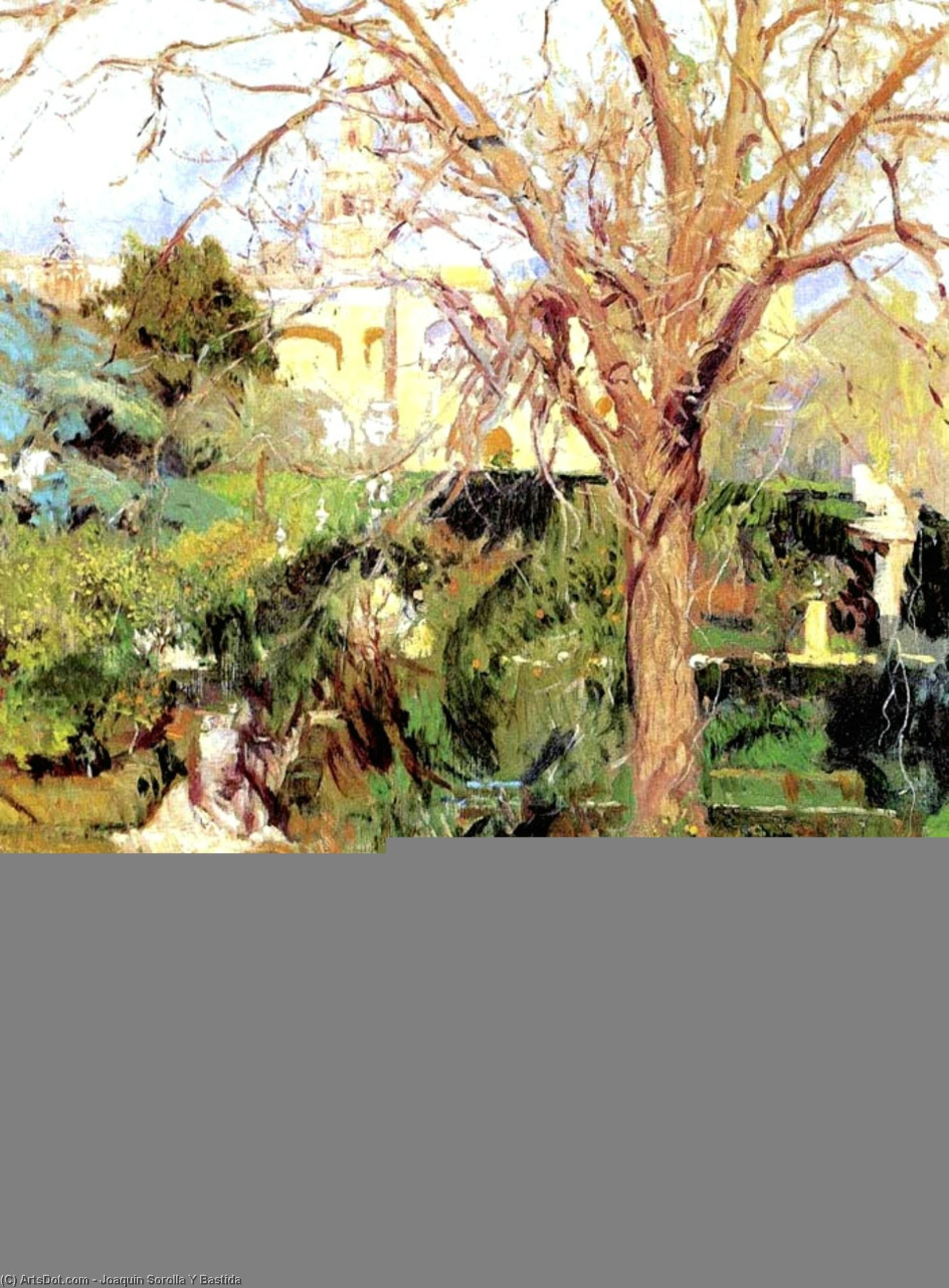 Gardens of the Alcázar of Seville in Wintertime, Oil On Canvas by Joaquin Sorolla Y Bastida (1863-1923, Spain)