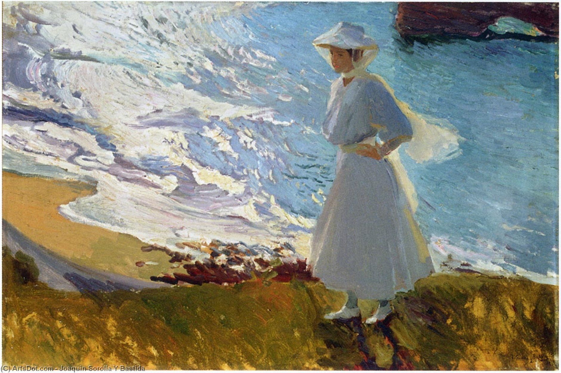 Maria at the Beach, Biarritz, Oil On Canvas by Joaquin Sorolla Y Bastida (1863-1923, Spain)