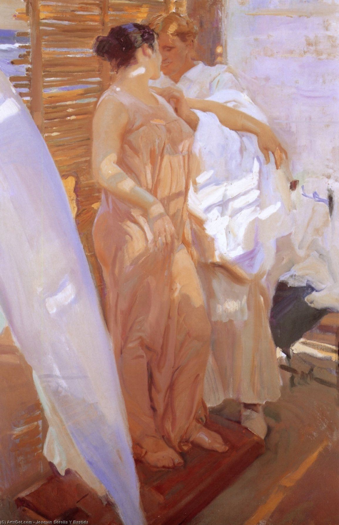 The Pink Wrap, Oil by Joaquin Sorolla Y Bastida (1863-1923, Spain)