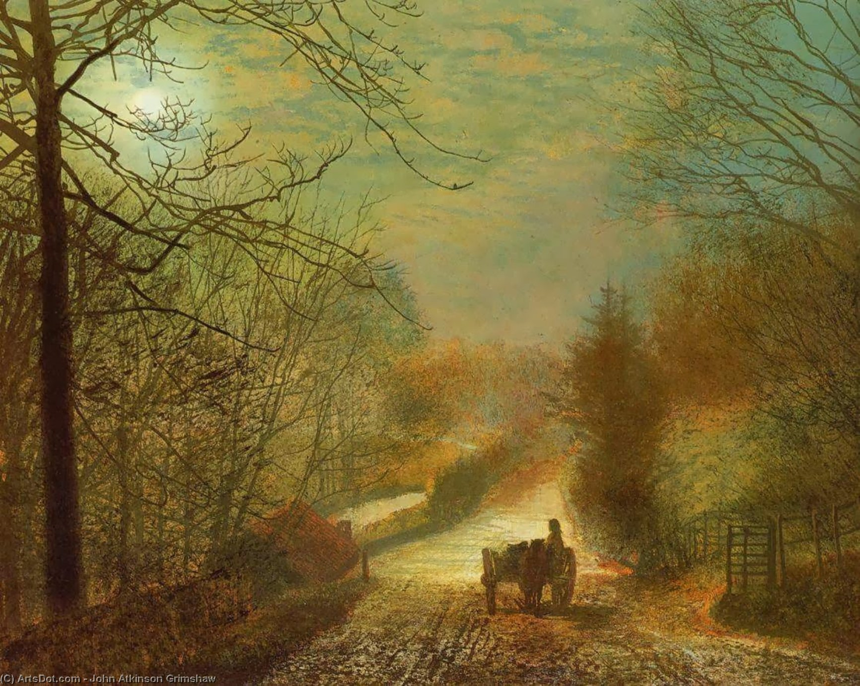 Forge Valley, near Scarborough, 1875 by John Atkinson Grimshaw (1836-1893, United Kingdom)