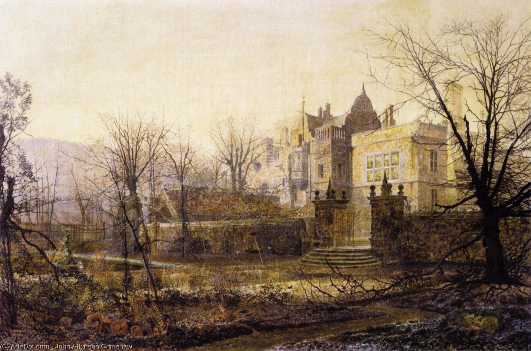Knostrop Hall, Early Morning by John Atkinson Grimshaw (1836-1893, United Kingdom)