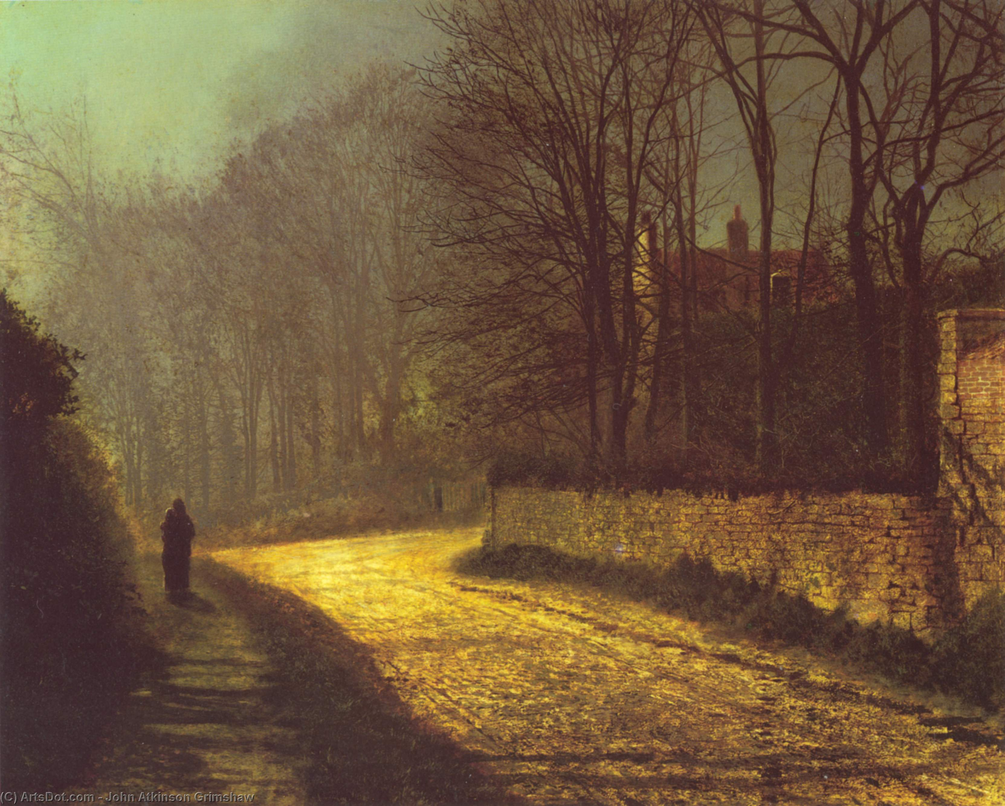The Lovers, Oil On Canvas by John Atkinson Grimshaw (1836-1893, United Kingdom)
