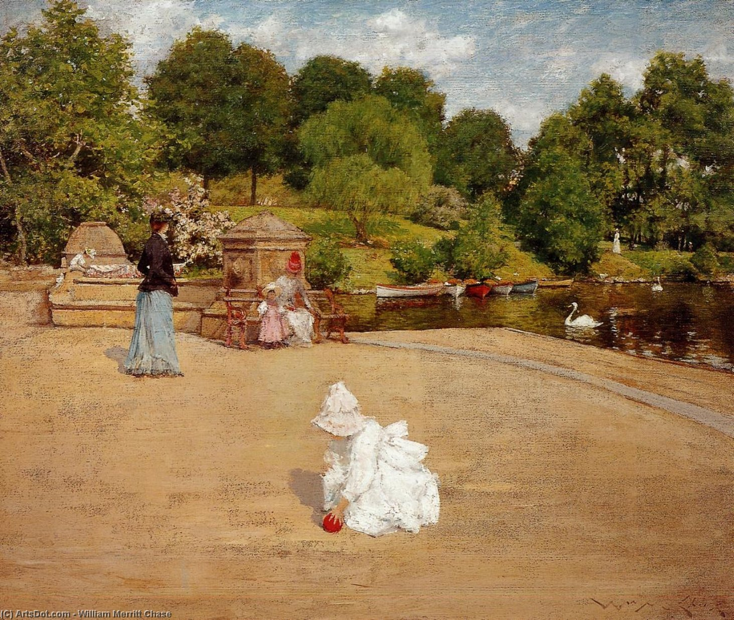 A Bit of the Terrace (aka Early Morning Stroll), Oil On Canvas by William Merritt Chase (1849-1916, United States)