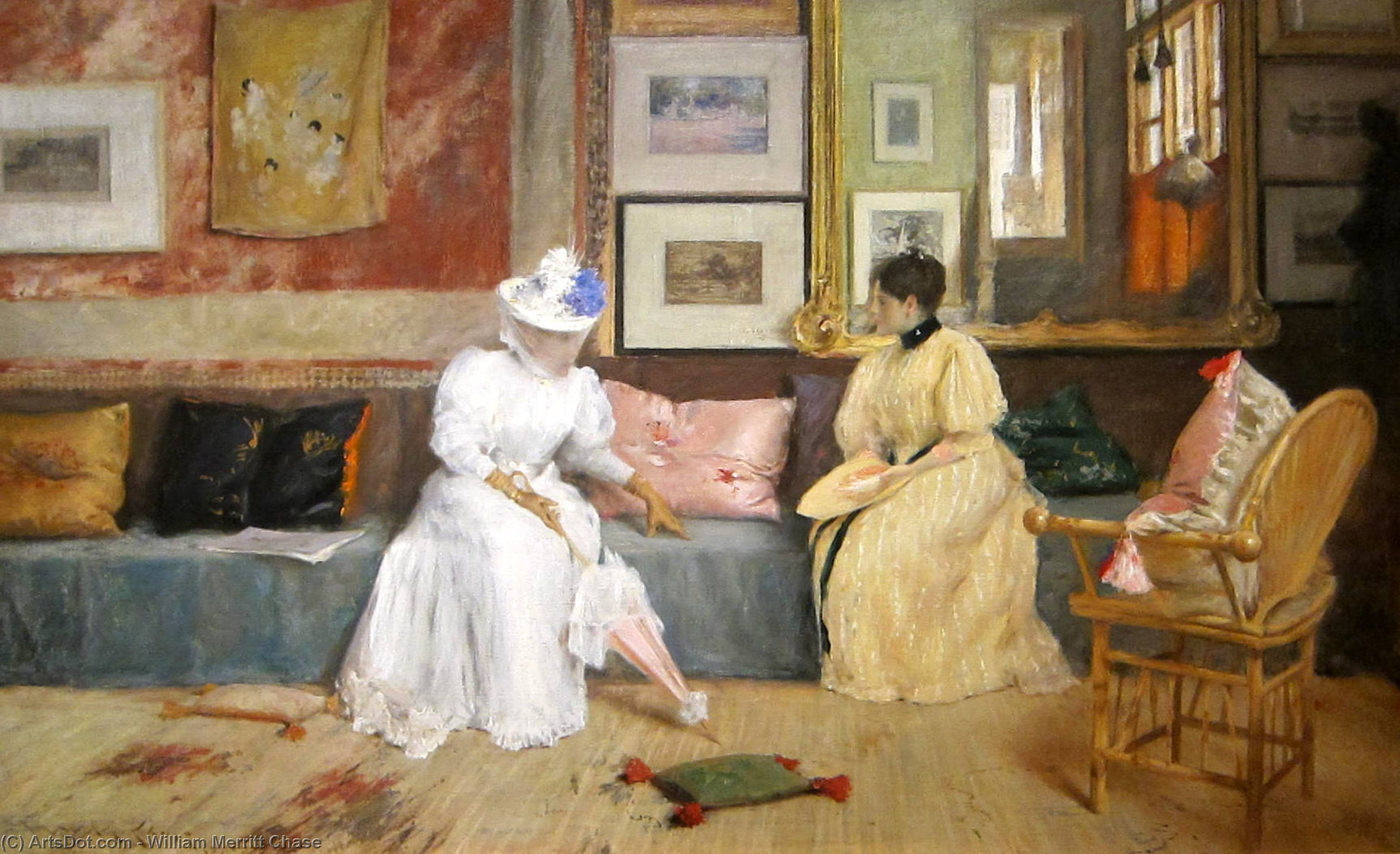 A Friendly Visit, Oil On Canvas by William Merritt Chase (1849-1916, United States)