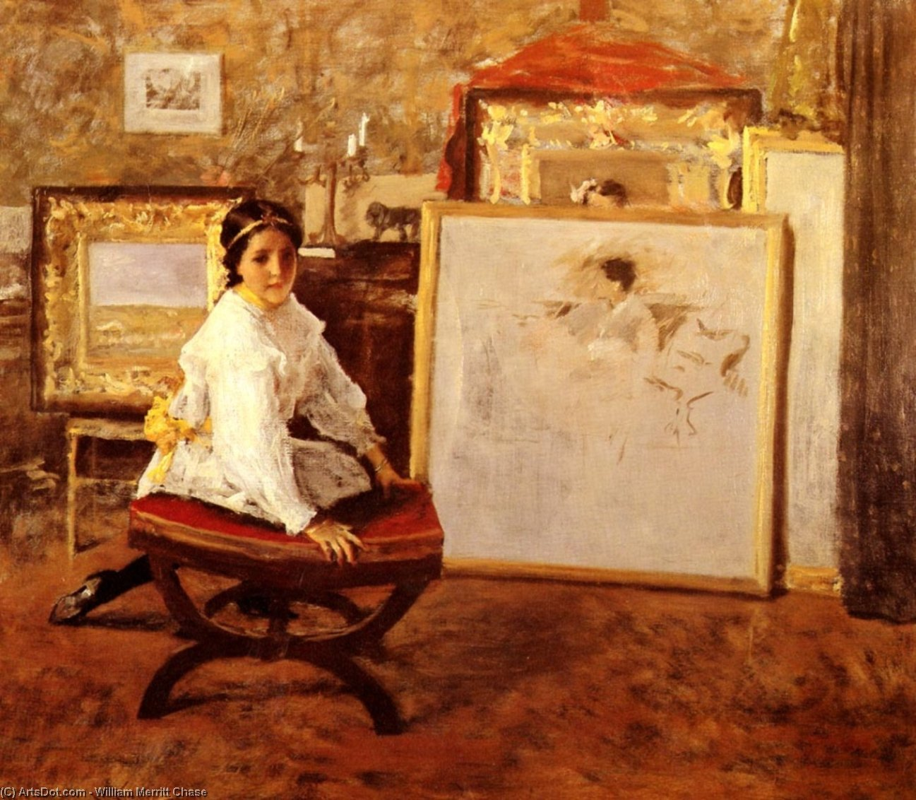 Did You Speak to Me-, Oil by William Merritt Chase (1849-1916, United States)