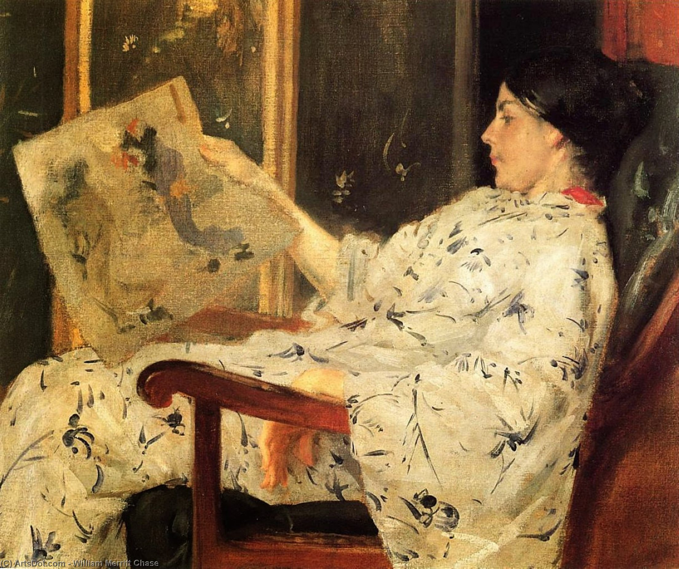 Japanese Print, Oil by William Merritt Chase (1849-1916, United States)