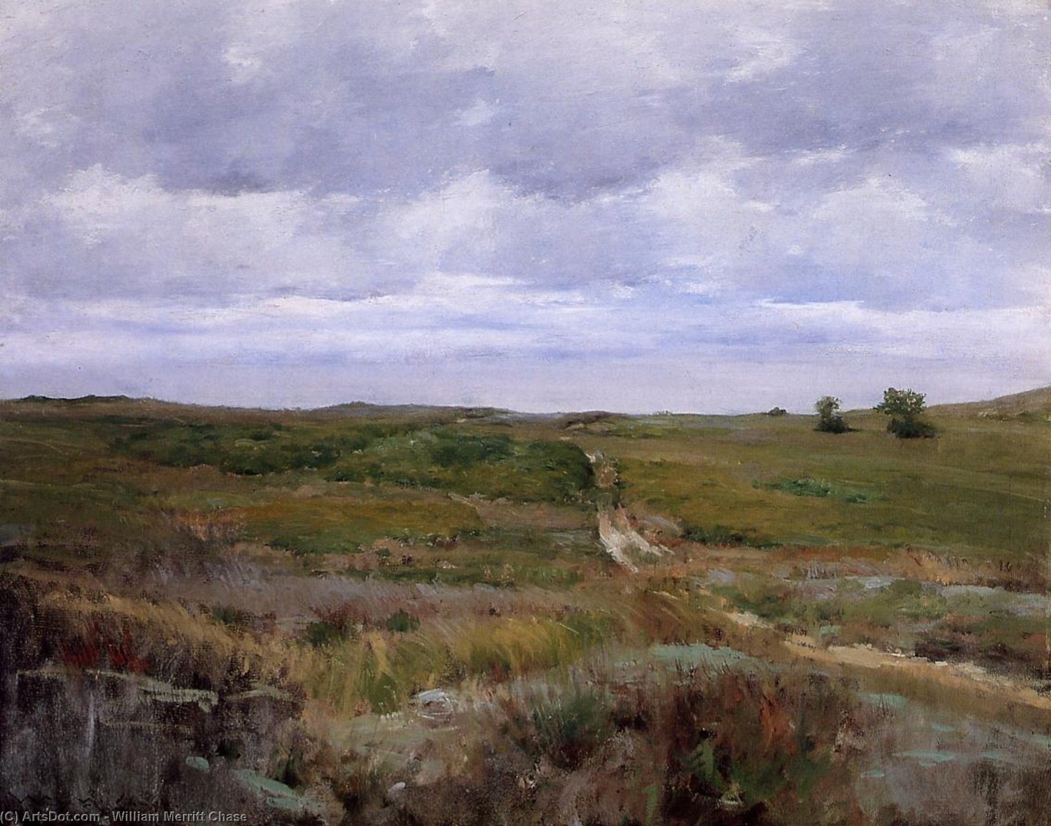 Over the Hills and Far Away, Oil On Canvas by William Merritt Chase (1849-1916, United States)