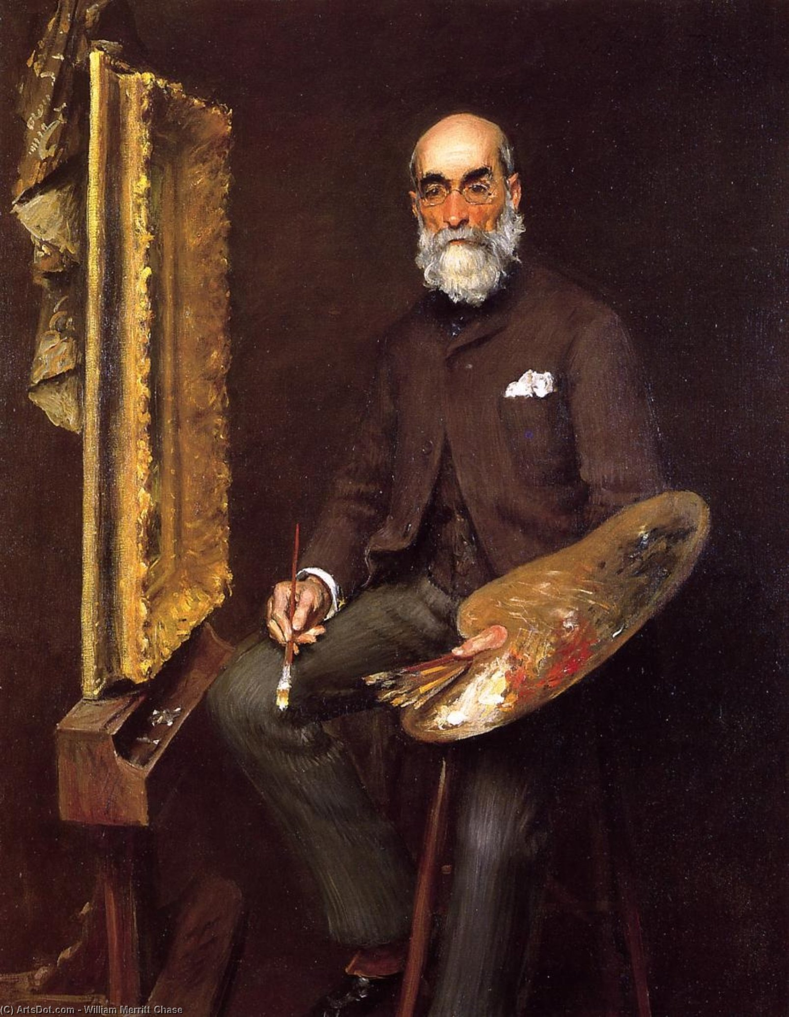 Portrait of Worthington Whittredge, Oil On Canvas by William Merritt Chase (1849-1916, United States)