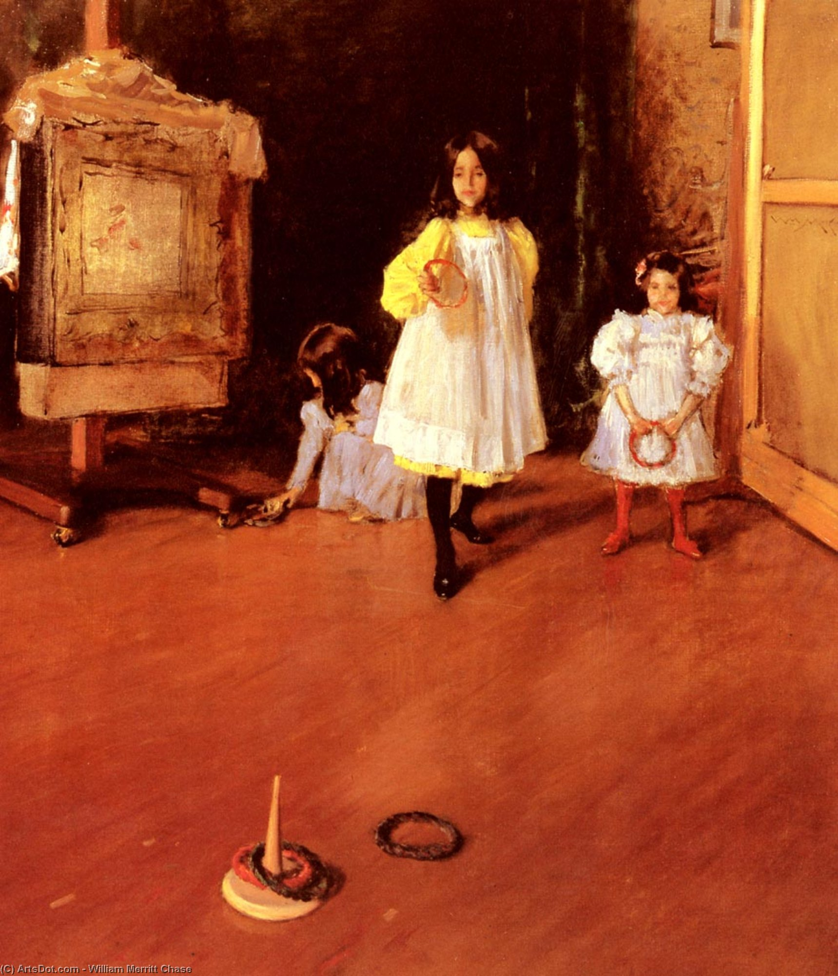 Ring Toss, Oil On Canvas by William Merritt Chase (1849-1916, United States)