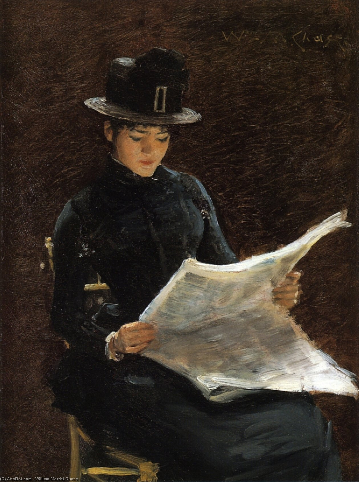 The Morning News, Oil On Panel by William Merritt Chase (1849-1916, United States)