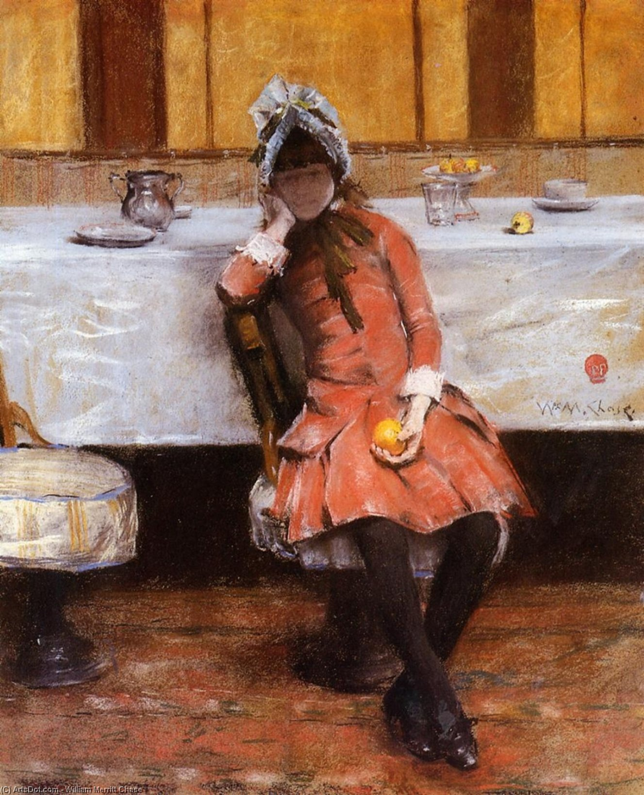 Young Girl on an Ocean Steamer, Oil by William Merritt Chase (1849-1916, United States)