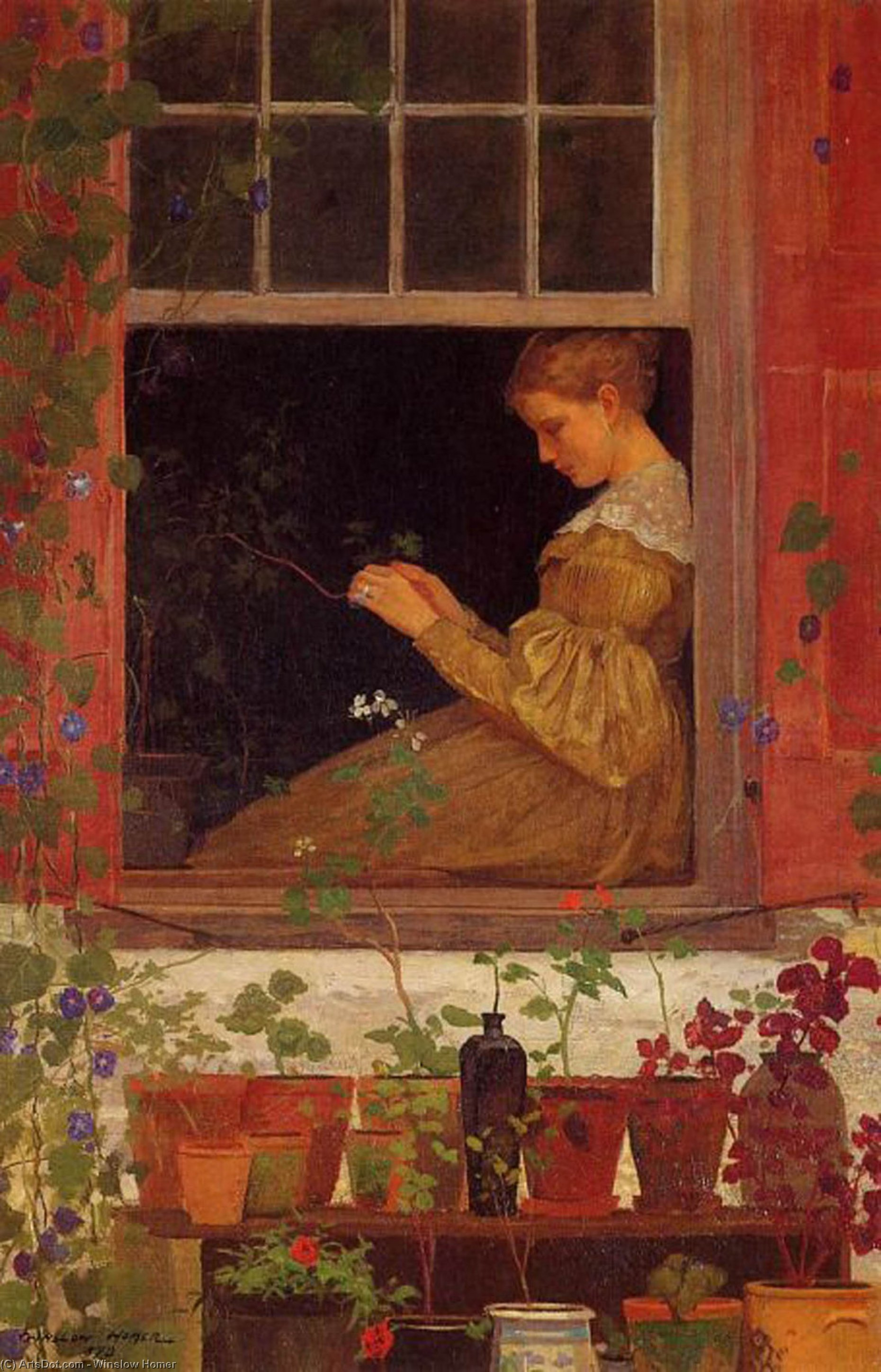 Morning Glories, 1873 by Winslow Homer (1836-1910, United States) | Oil Painting | ArtsDot.com