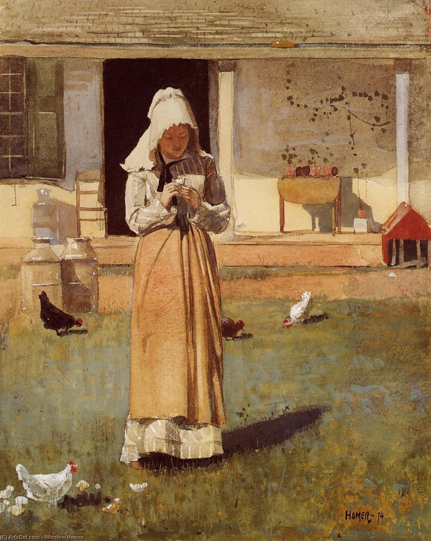 The Sick Chicken, 1874 by Winslow Homer (1836-1910, United States) | Oil Painting | ArtsDot.com