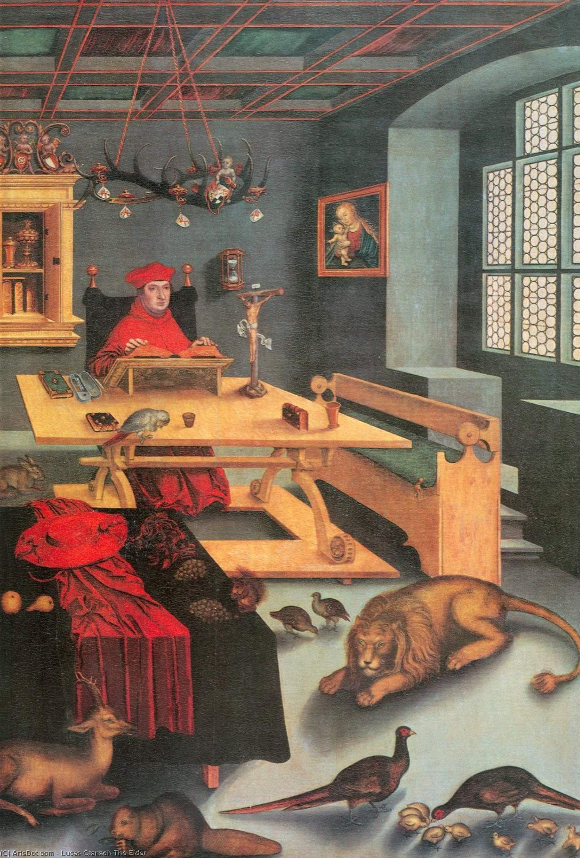 Albrecht of Brandenburg as St. Jerome in his study, Oil by Lucas Cranach The Elder (1472-1553, Germany)