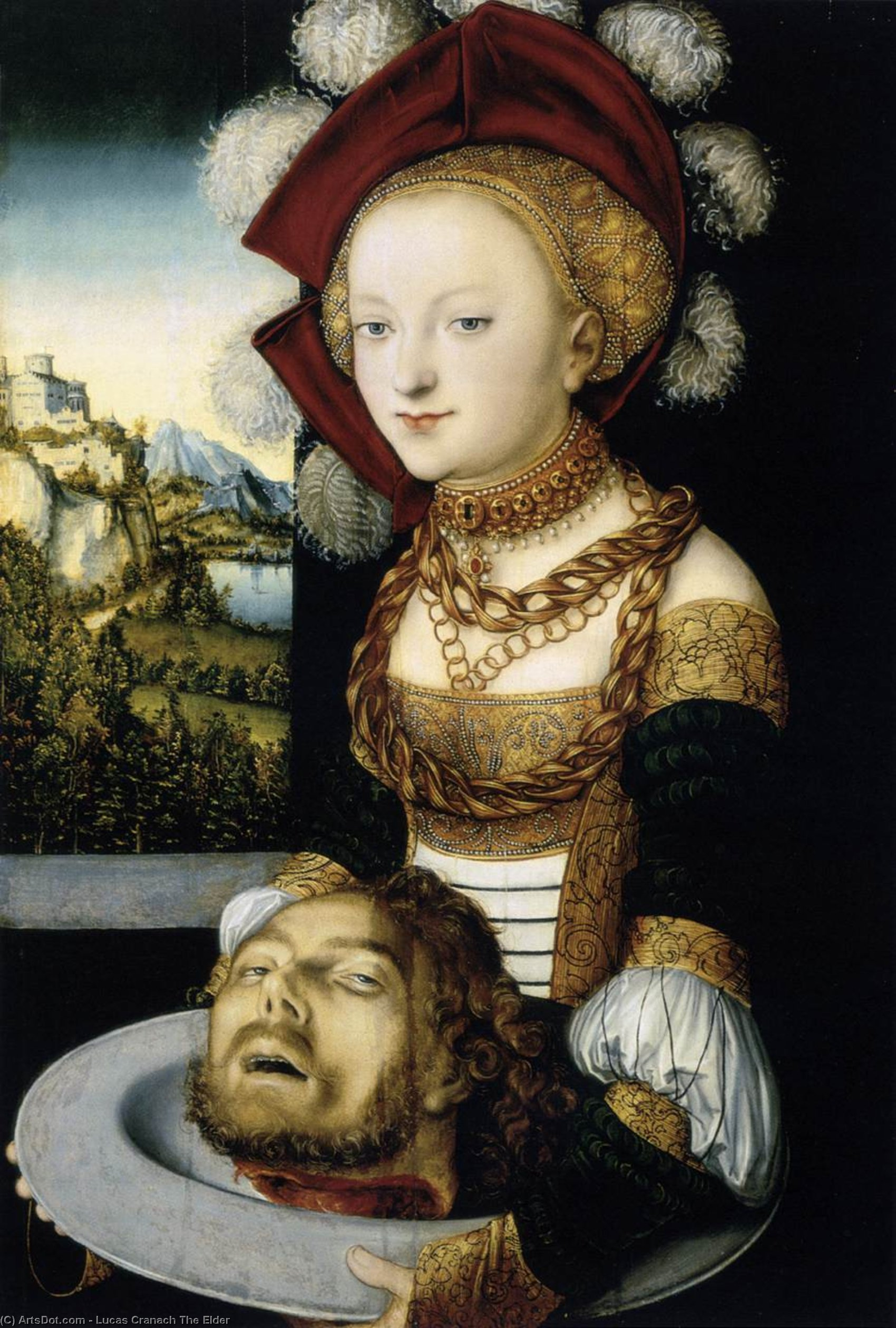 Salome, Oil by Lucas Cranach The Elder (1472-1553, Germany)