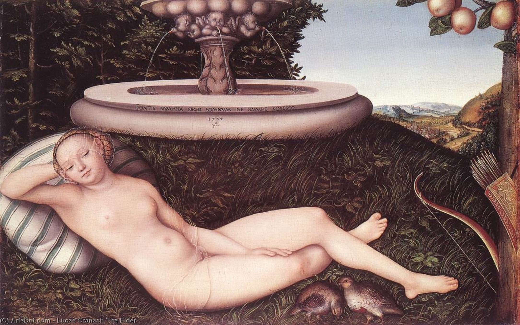 The Nymph of the Fountain, Oil On Panel by Lucas Cranach The Elder (1472-1553, Germany)