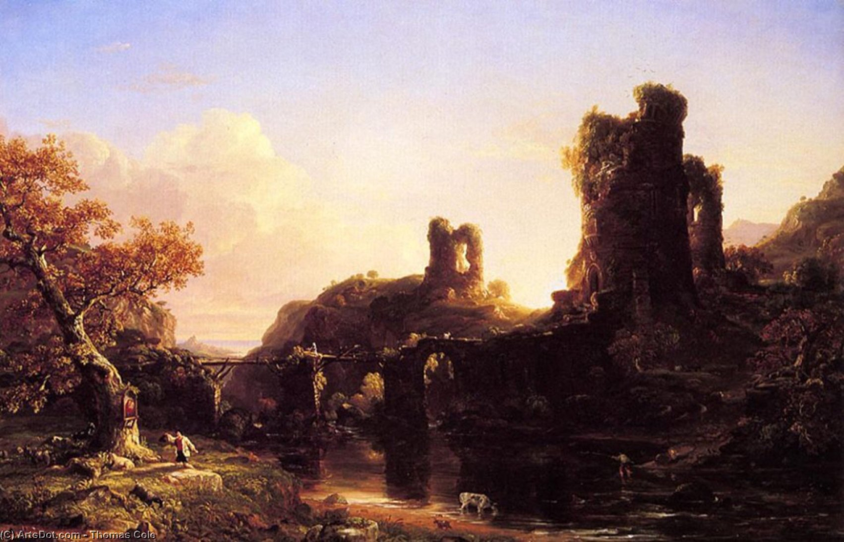 An Italian Autumn, Oil On Canvas by Thomas Cole (1801-1848, United Kingdom)